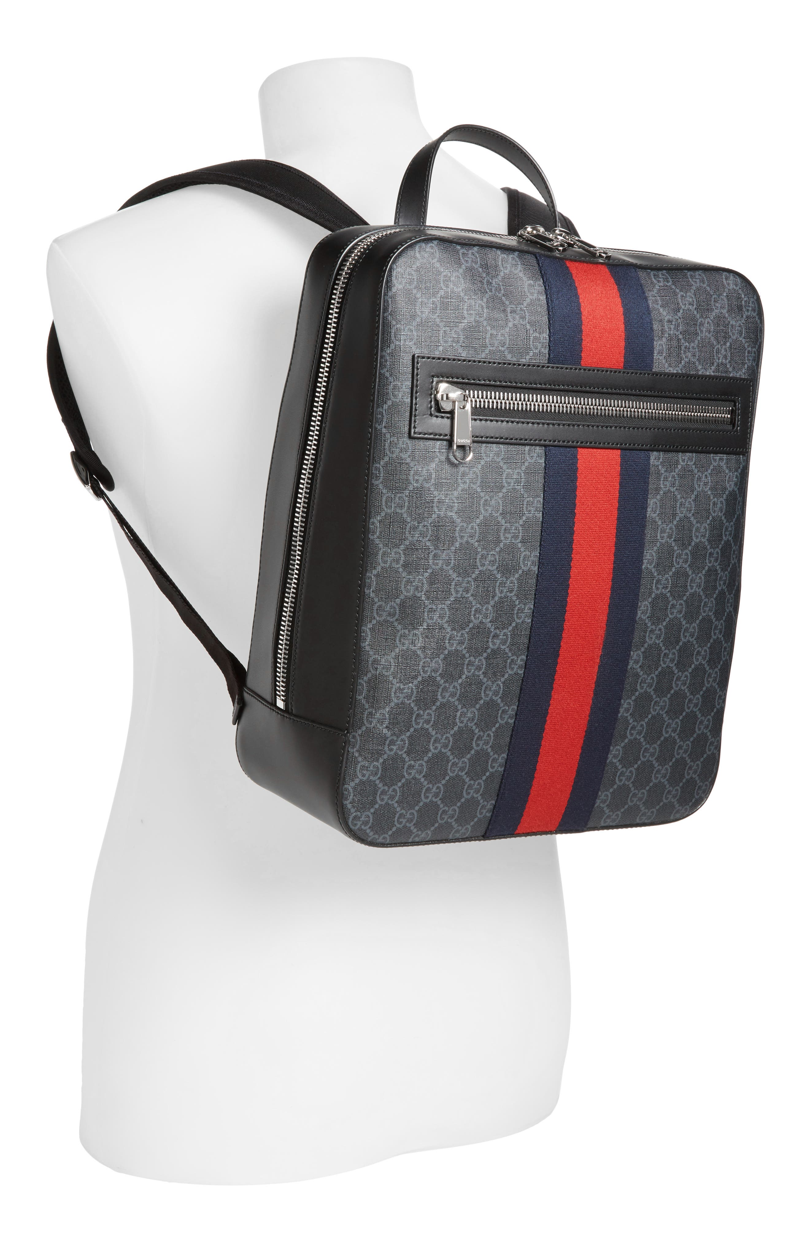 GG Leather Trim Backpack,                             Alternate thumbnail 2, color,