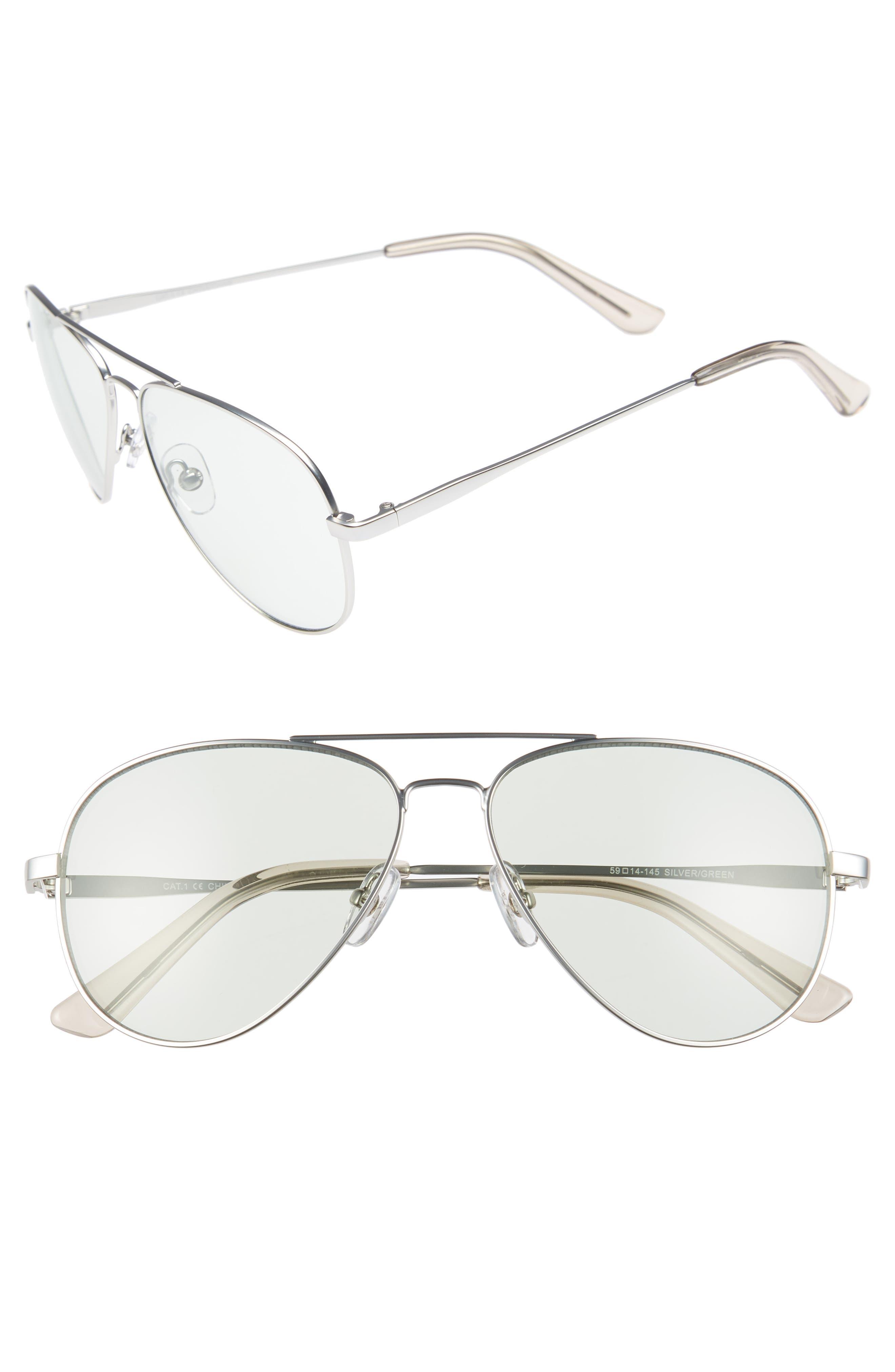 Davis 59mm Aviator Sunglasses,                             Main thumbnail 1, color,                             SILVER/ GREEN
