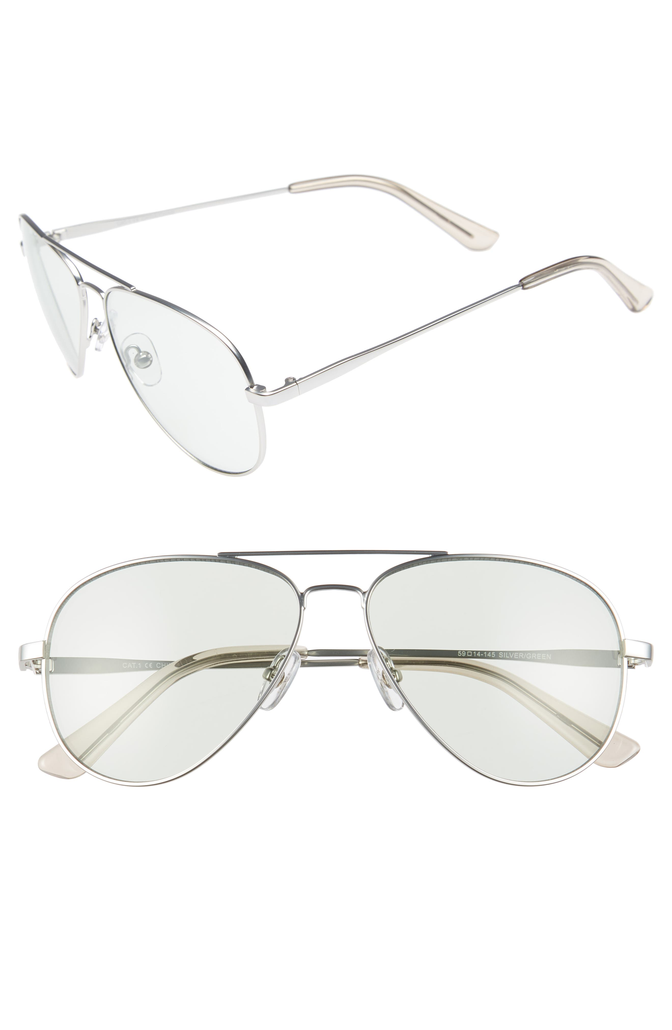 Davis 59mm Aviator Sunglasses,                         Main,                         color, SILVER/ GREEN
