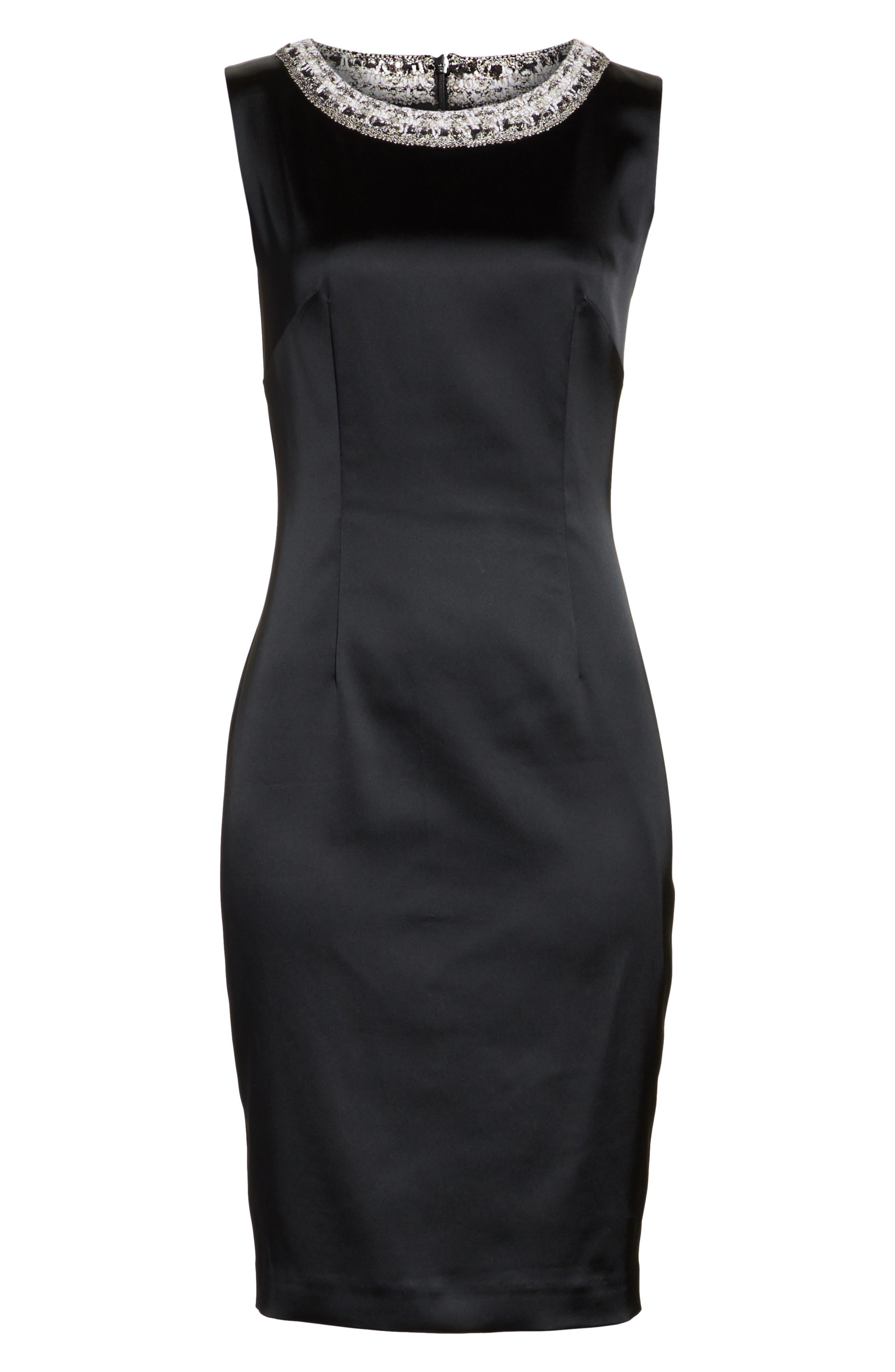 Knit Trim Stretch Satin Dress,                             Alternate thumbnail 6, color,                             001