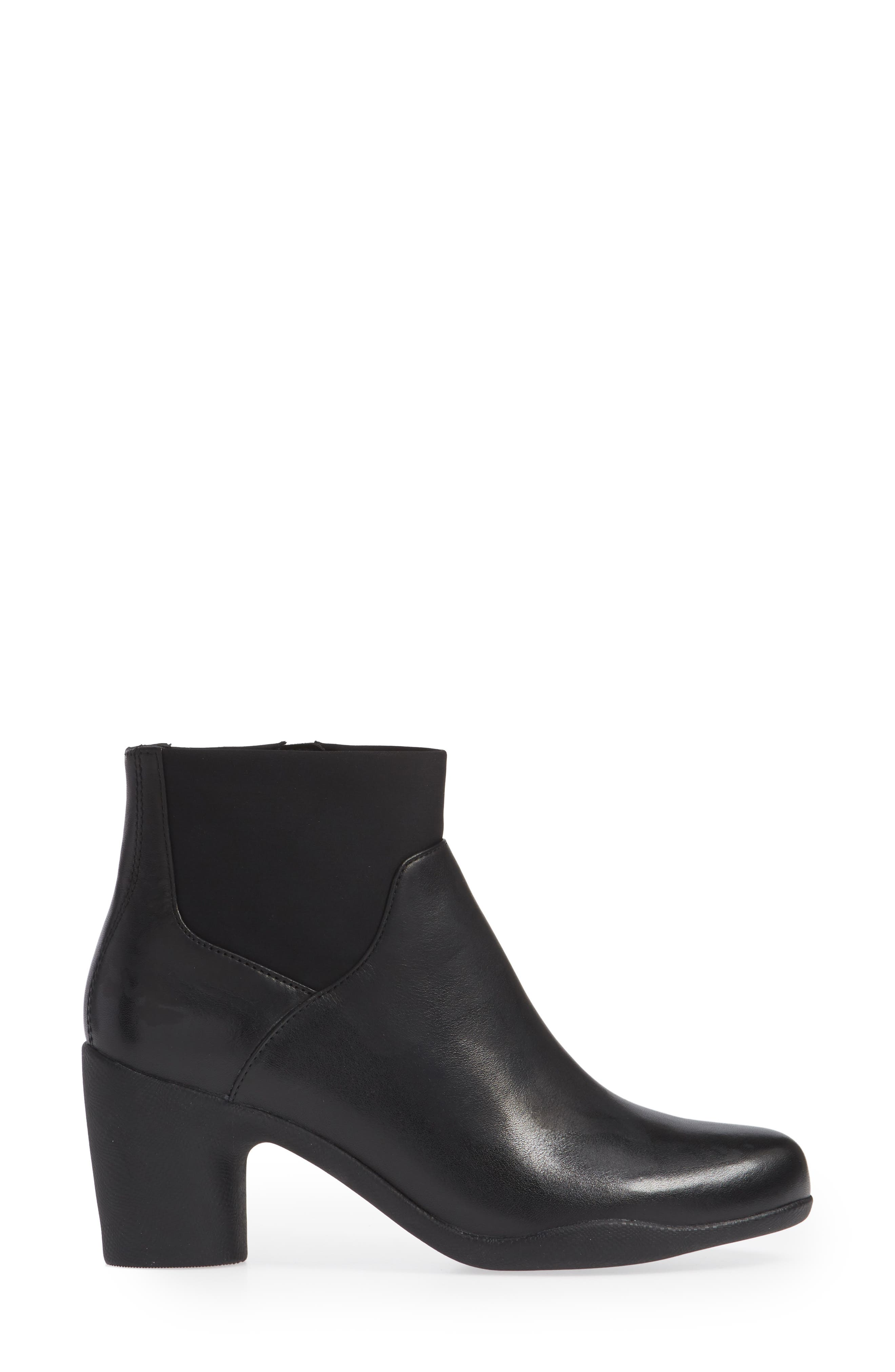 Clarks Un Rose Mid Ankle Boot,                             Alternate thumbnail 3, color,                             BLACK LEATHER