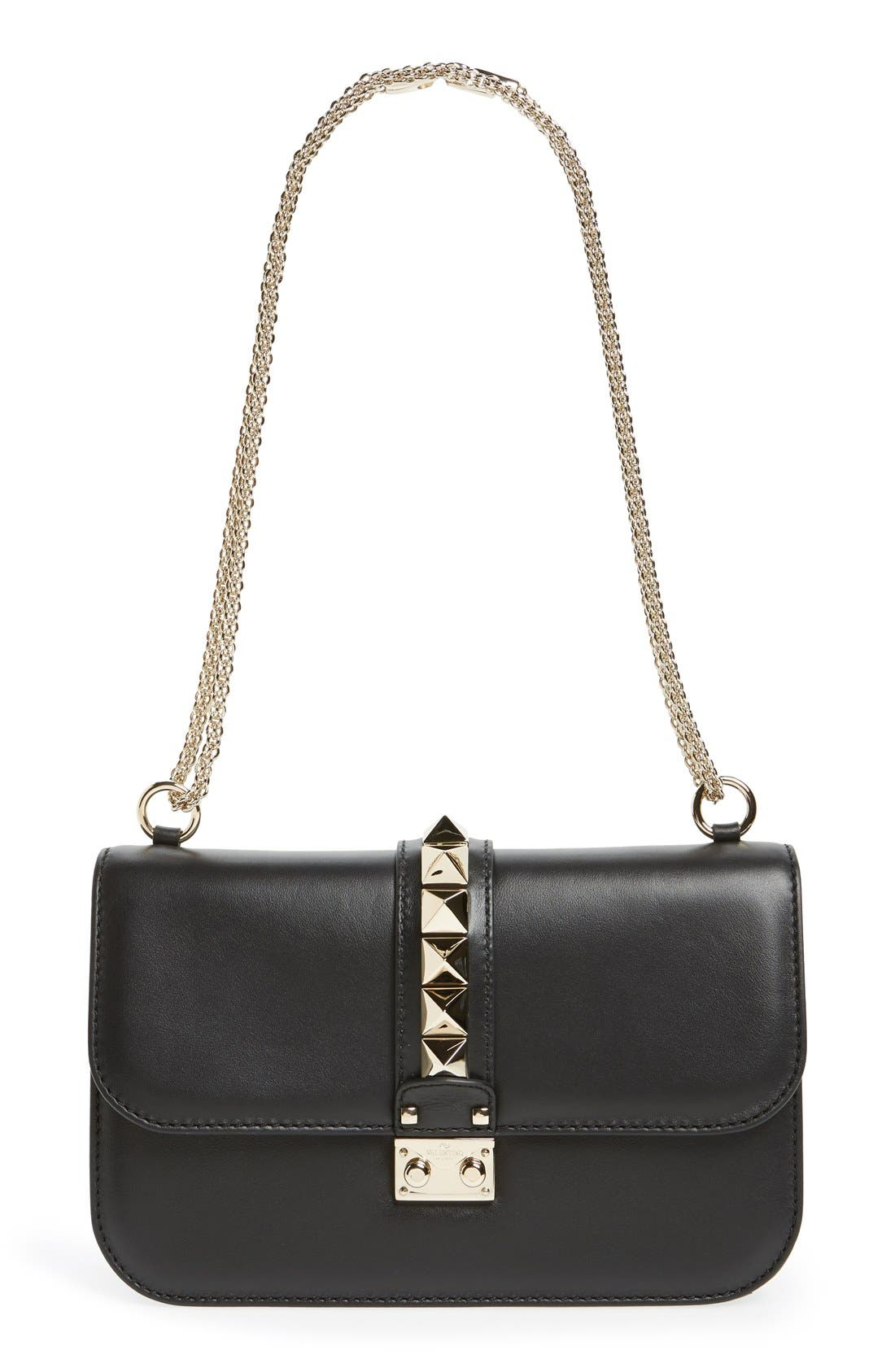 'Medium Lock' Shoulder Bag, Main, color, NERO