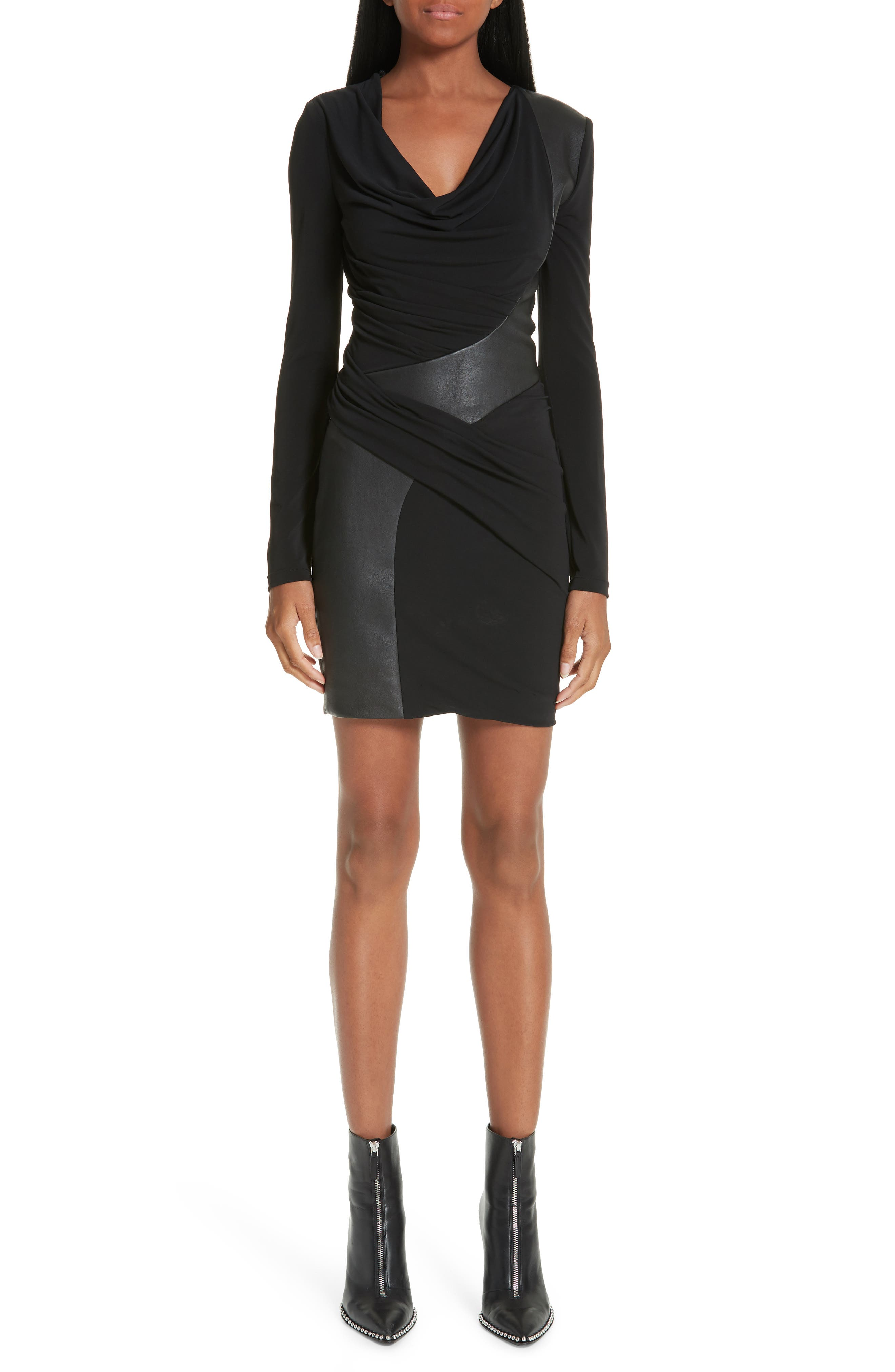 Alexander Wang Leather Detail Cowl Neck Jersey Dress, Black