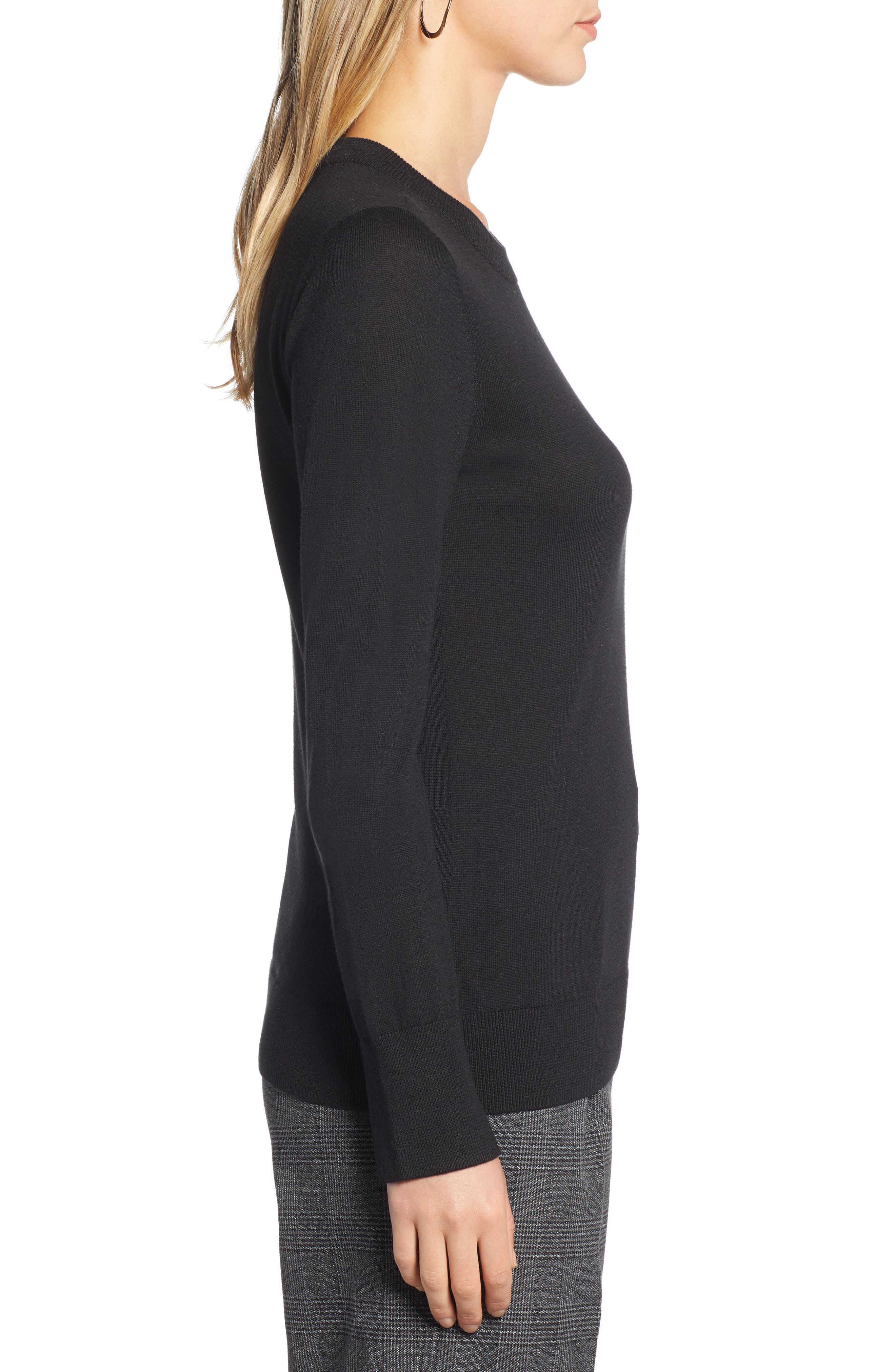 HALOGEN<SUP>®</SUP>,                             Slit Sleeve Sweater,                             Alternate thumbnail 3, color,                             BLACK