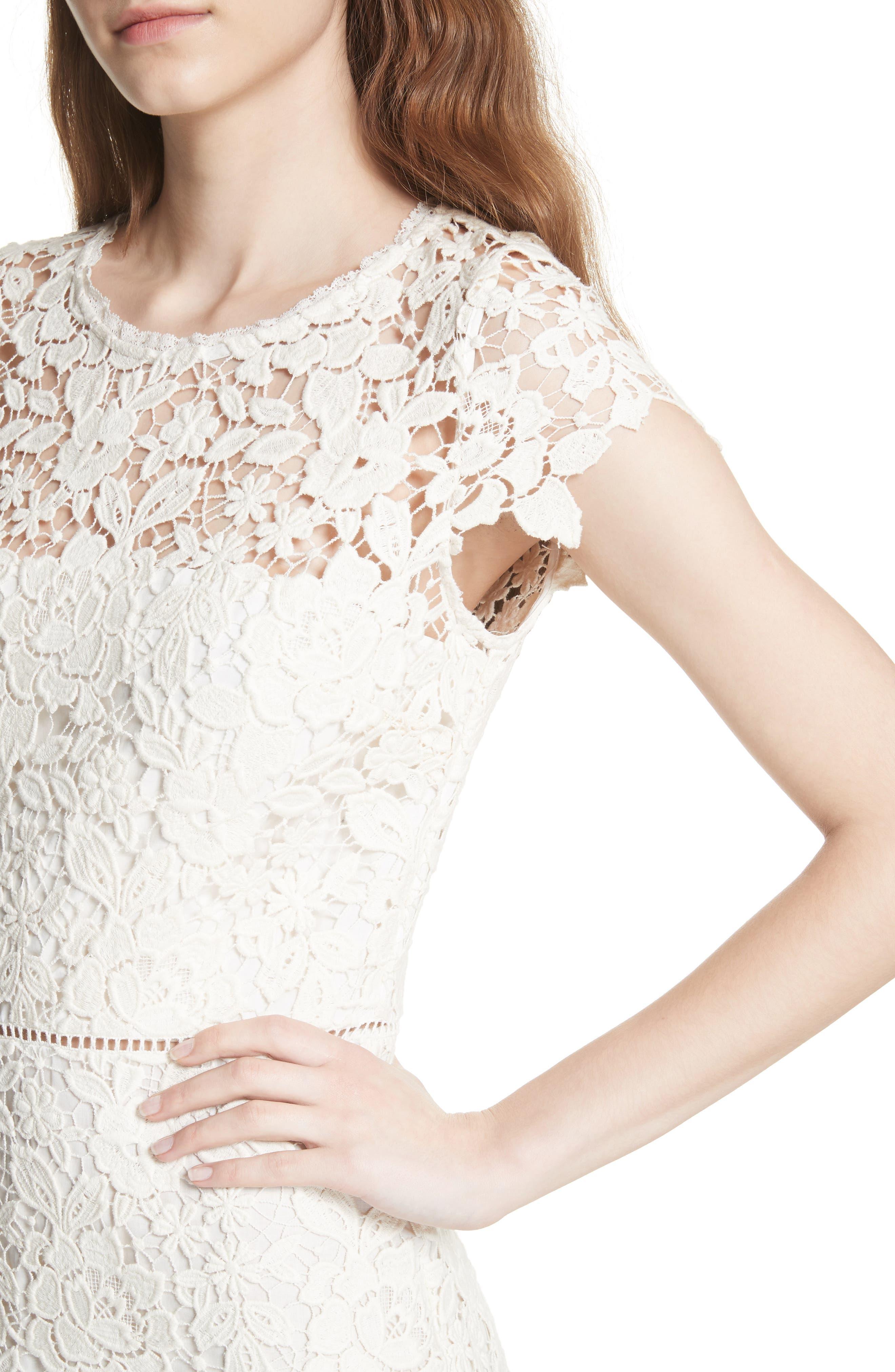 Celedonia Scallop Lace Dress,                             Alternate thumbnail 4, color,                             PORCELAIN