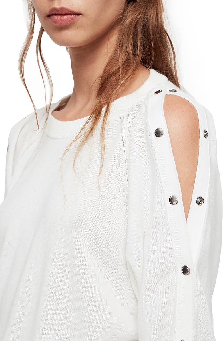 48bbae40118 Shop Allsaints Suzie Snap Sleeve Sweater Dress In Ivory White