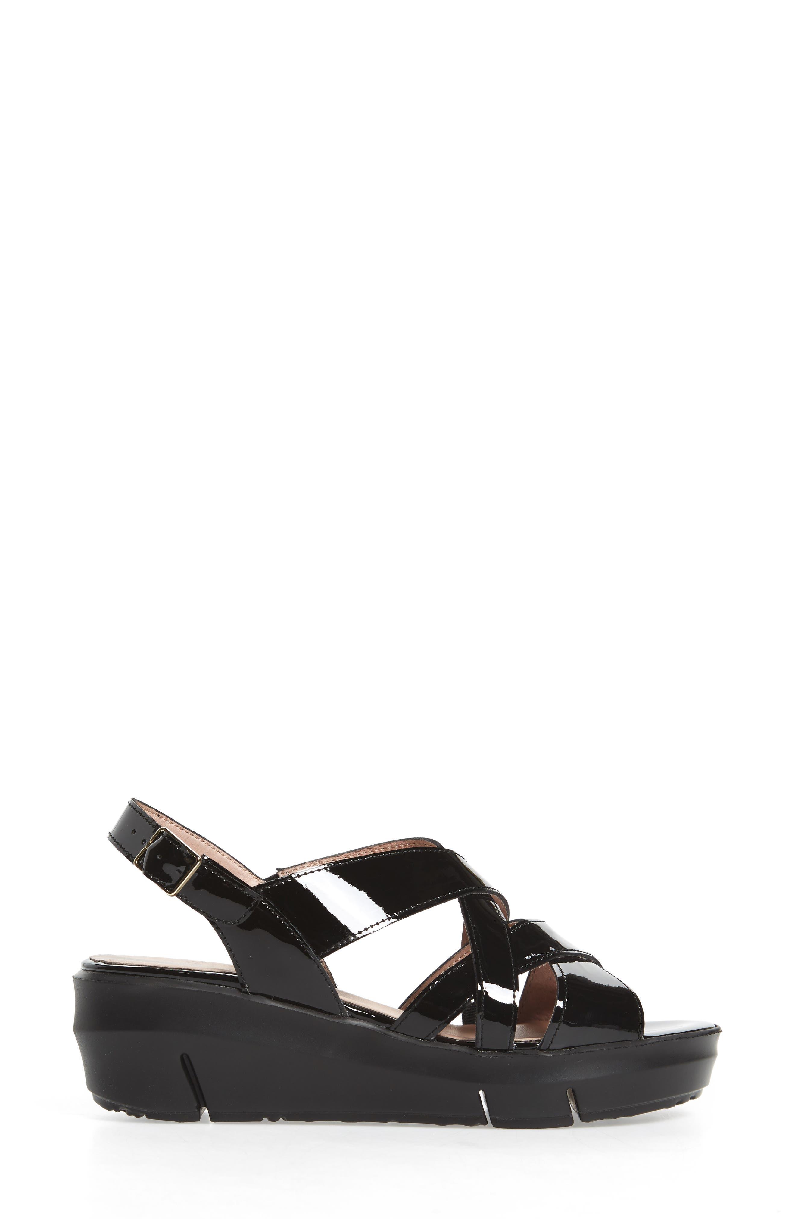 Platform Wedge Sandal,                             Alternate thumbnail 3, color,                             BLACK LEATHER