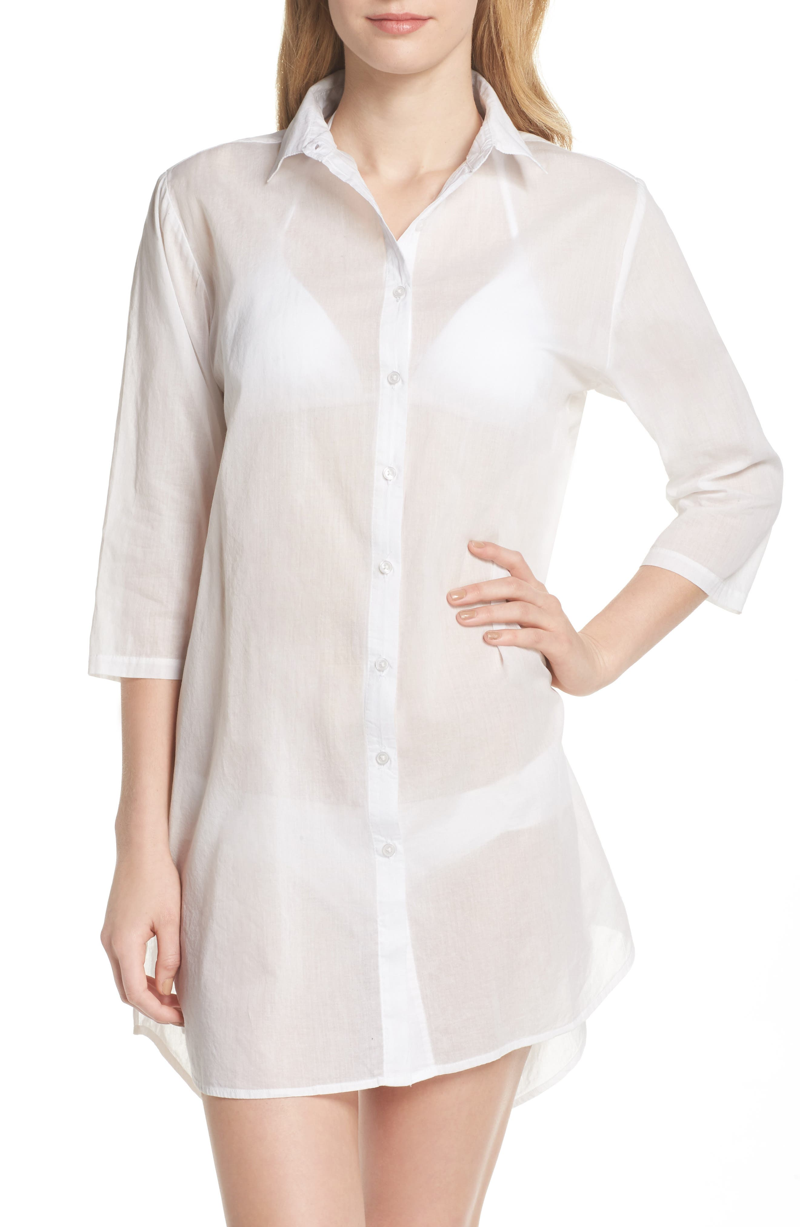Solid Cover-Up Dress,                             Alternate thumbnail 4, color,                             100