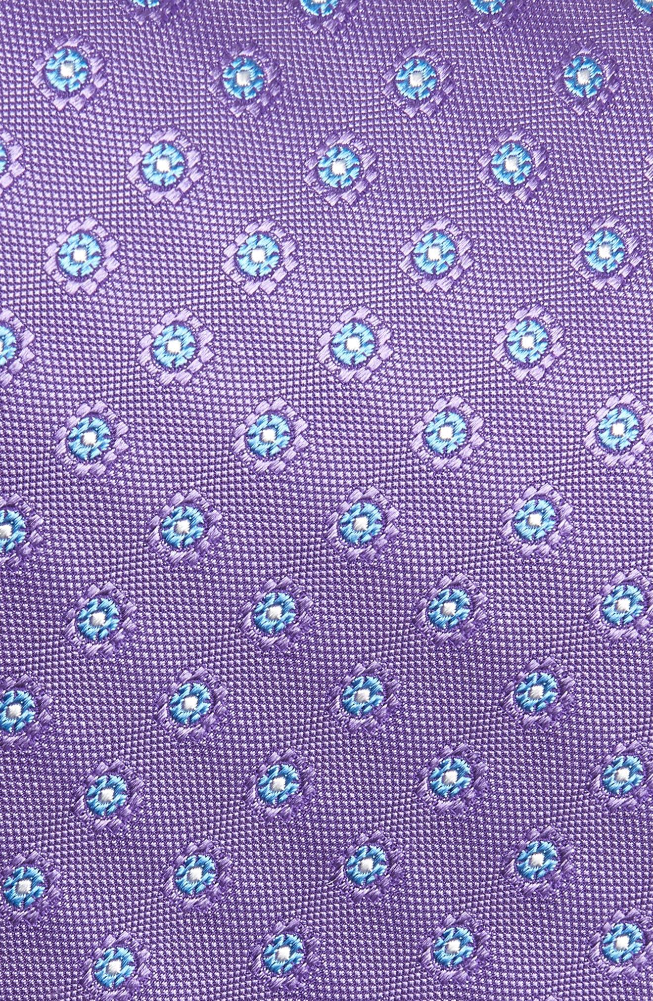 DAVID DONAHUE,                             Flower Medallion Silk X-Long Tie,                             Alternate thumbnail 2, color,                             PURPLE