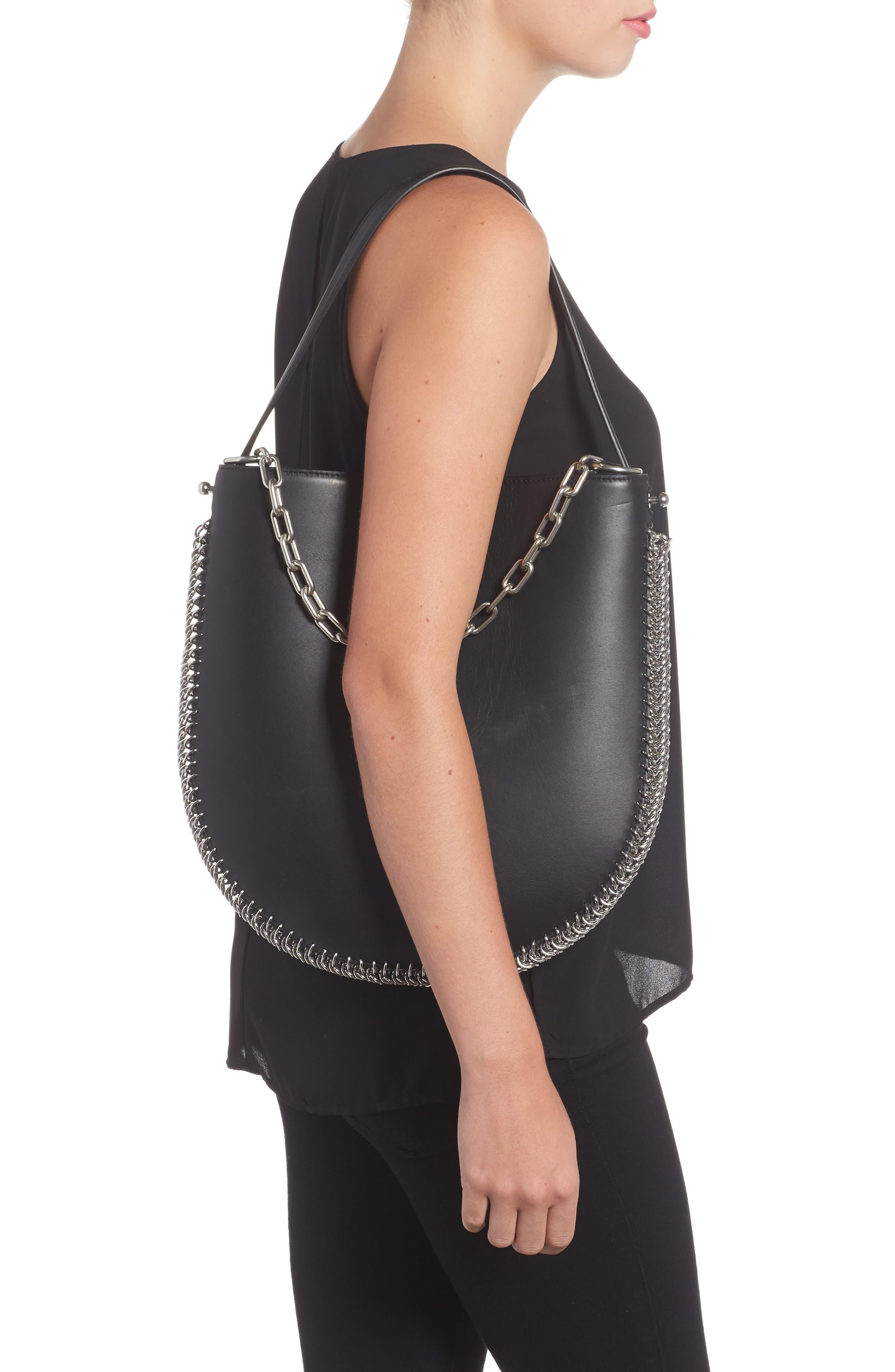 Roxy Studded Leather Hobo Bag,                             Alternate thumbnail 2, color,                             001