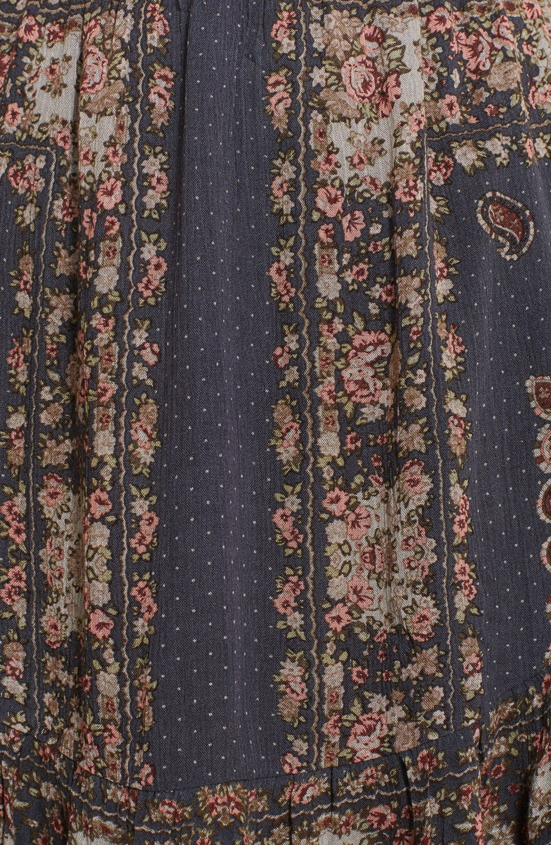 'Bridgette' Print Ruffle Hem Dress,                             Alternate thumbnail 4, color,                             001