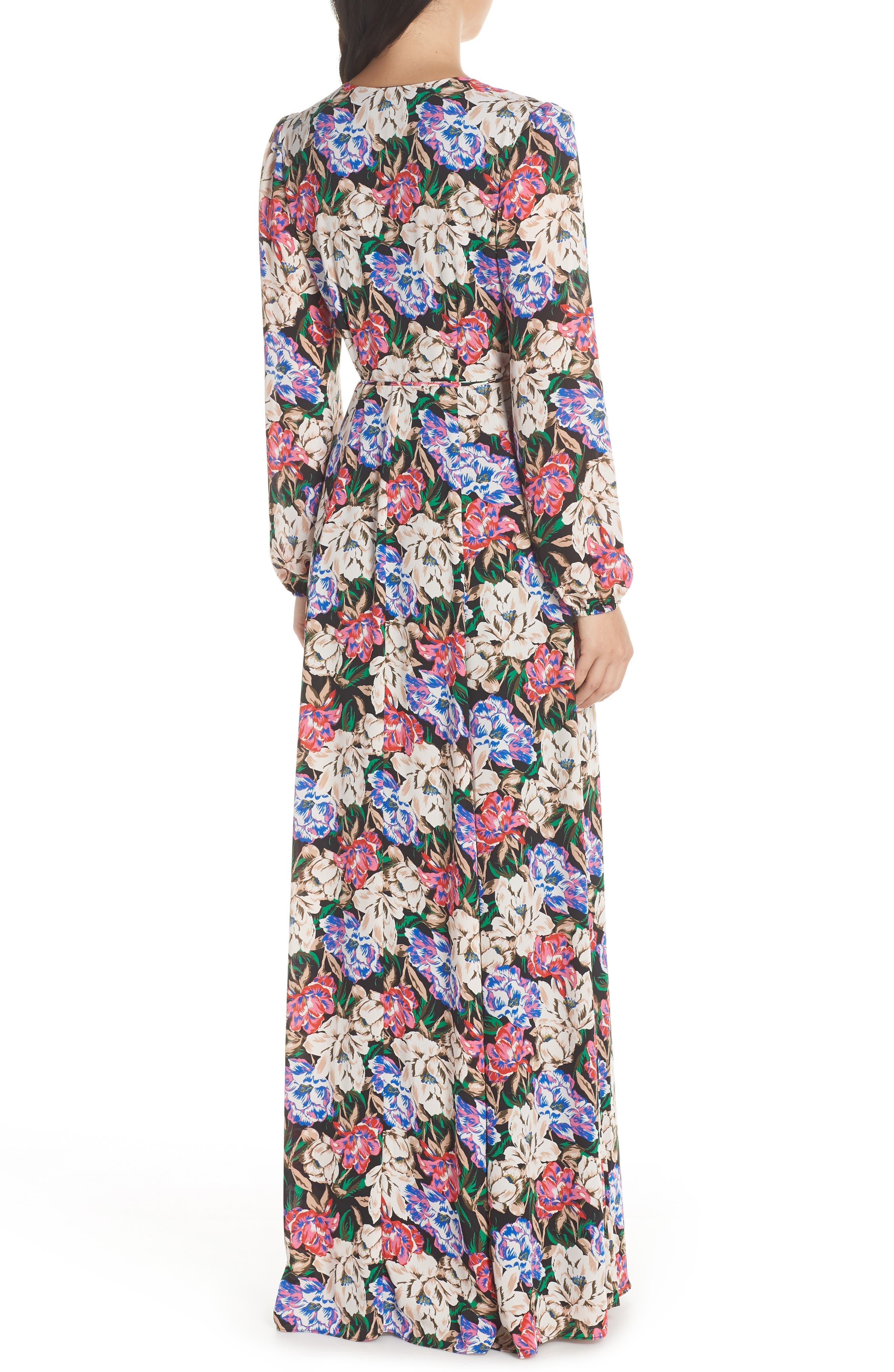 Lila Long Sleeve Wrap Gown,                             Alternate thumbnail 2, color,                             MIDNIGHT FLORAL