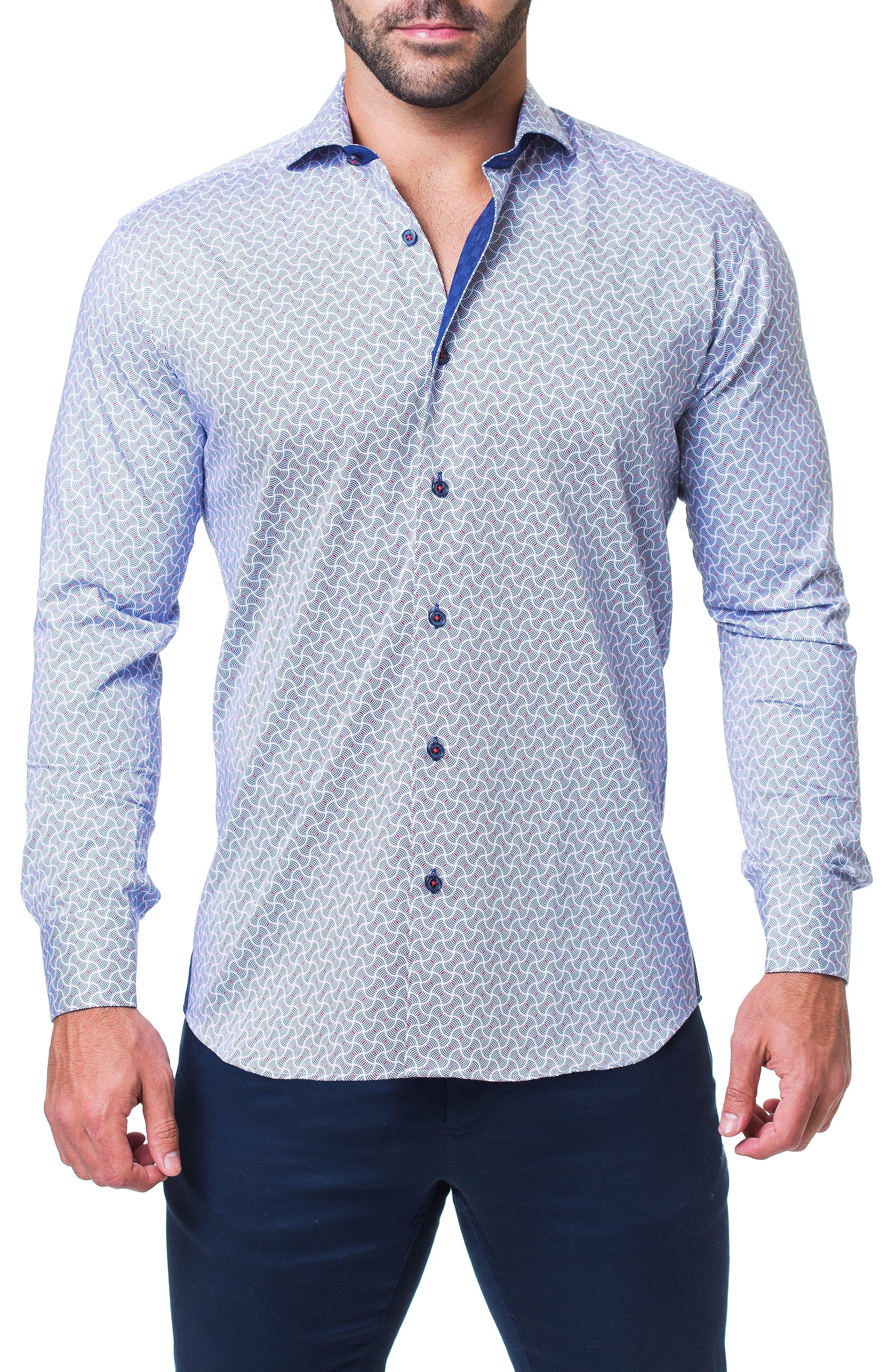Einstein Illusion Trim Fit Sport Shirt,                         Main,                         color, BLUE