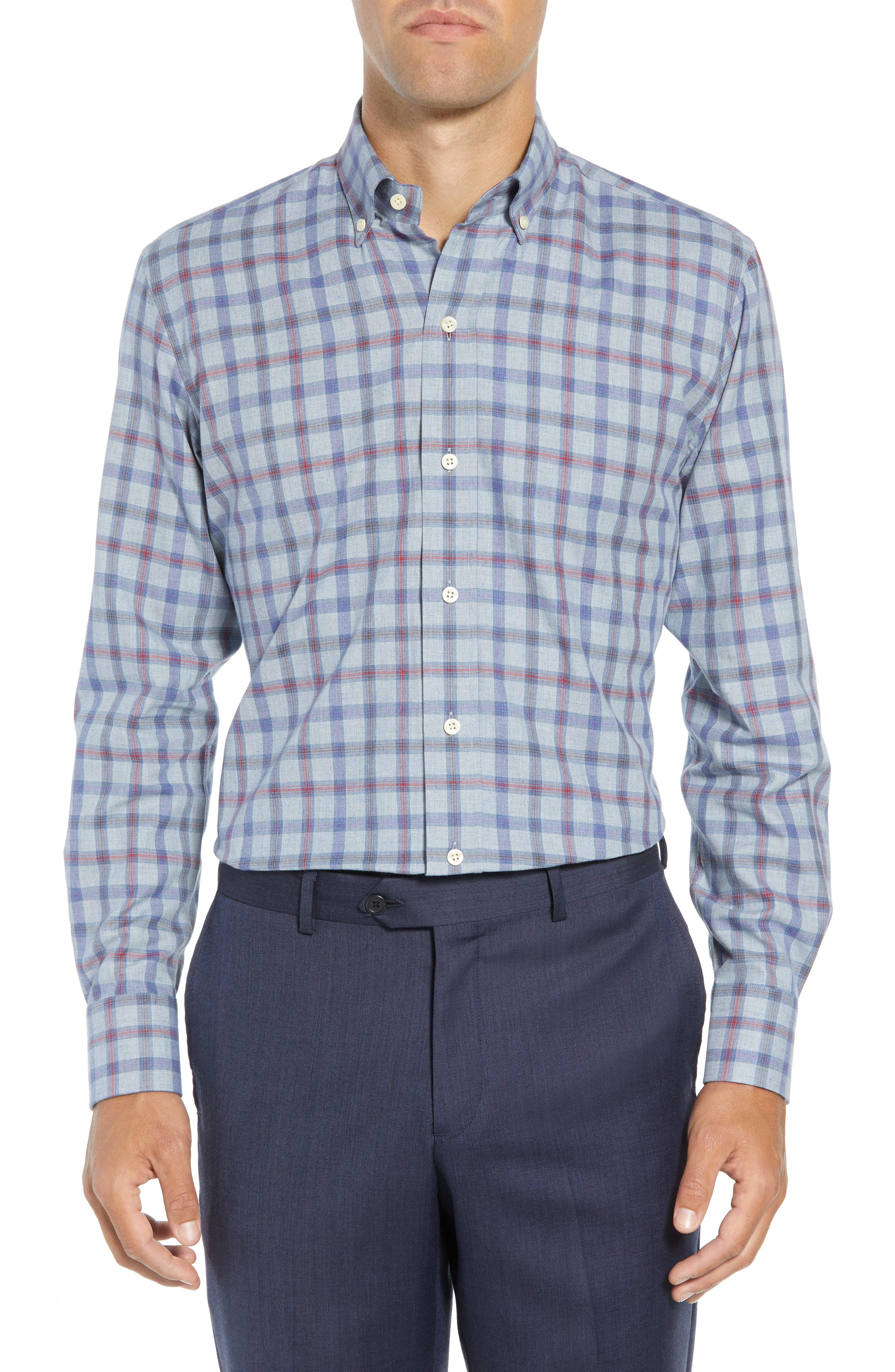 Hilbank Trim Fit Check Dress Shirt,                         Main,                         color, CADET BLUE