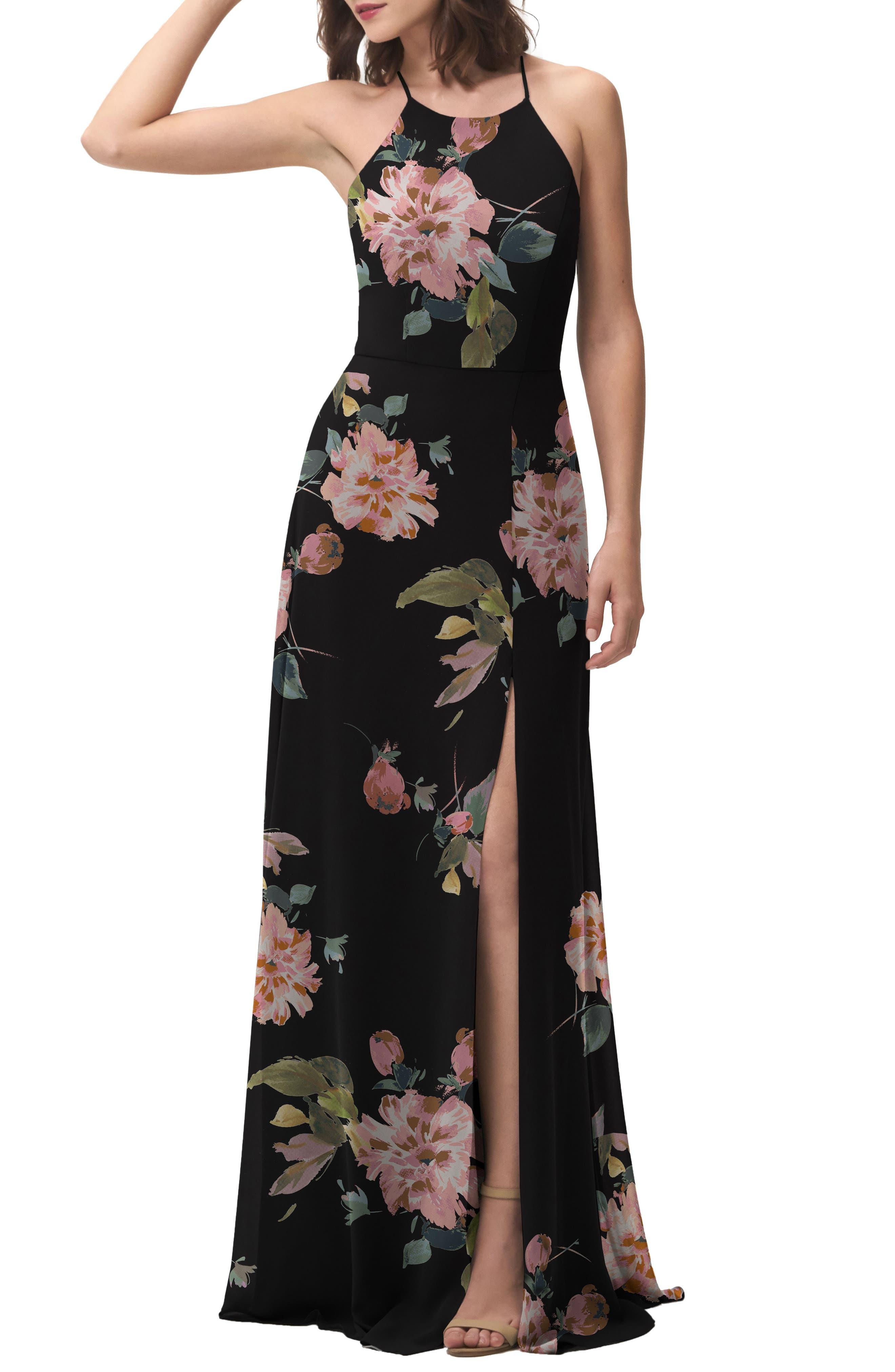 Collection Kayla Ohana Print Gown,                             Alternate thumbnail 6, color,                             BLACK MULTI