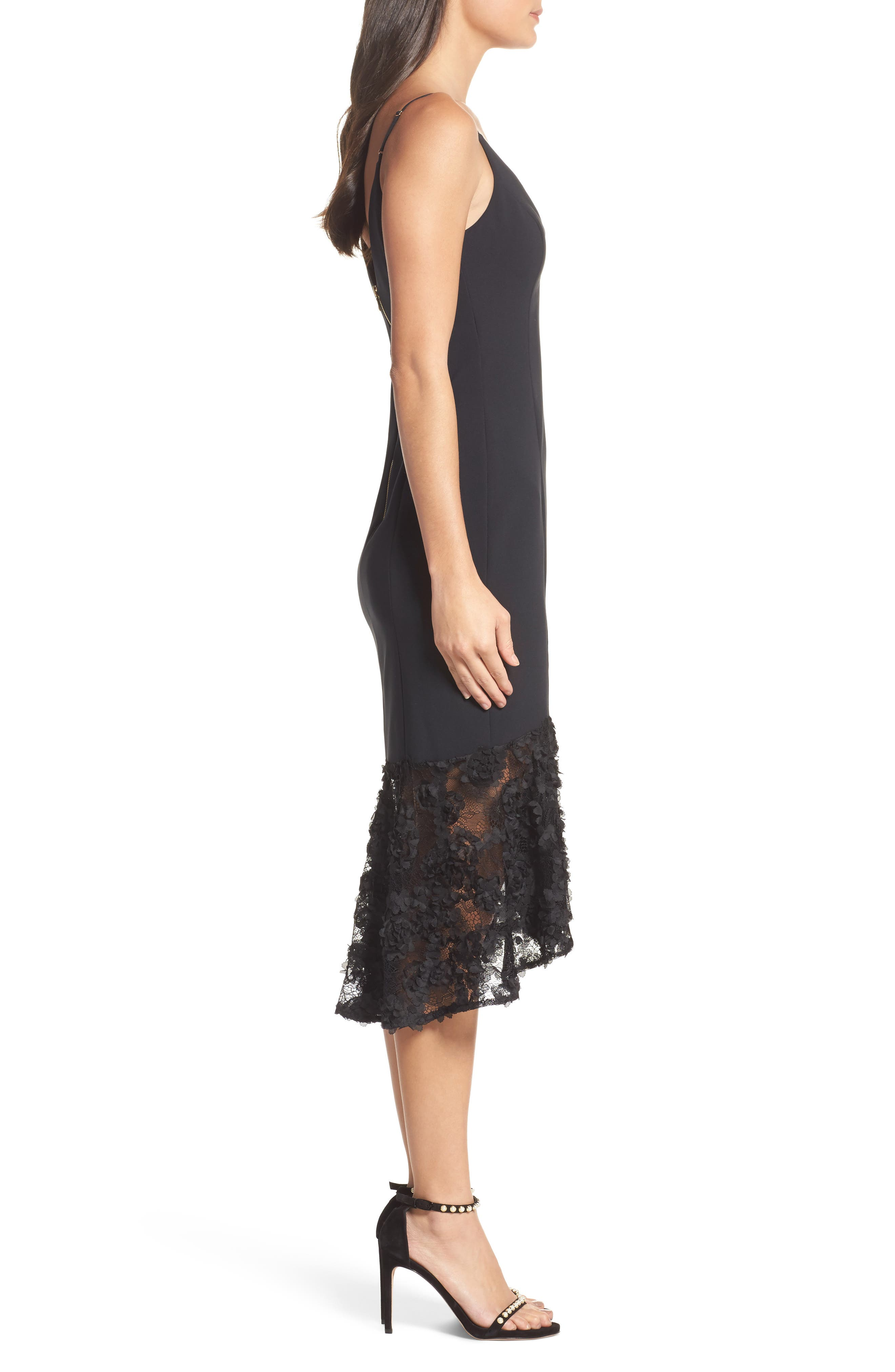 Milly Lace Flounce Slipdress,                             Alternate thumbnail 3, color,                             001