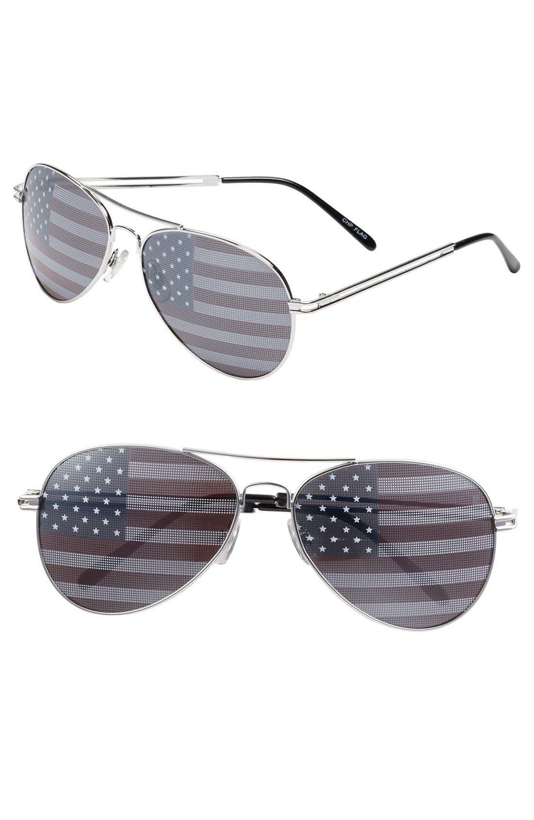 BP. American Flag Aviator Sunglasses, Main, color, 040