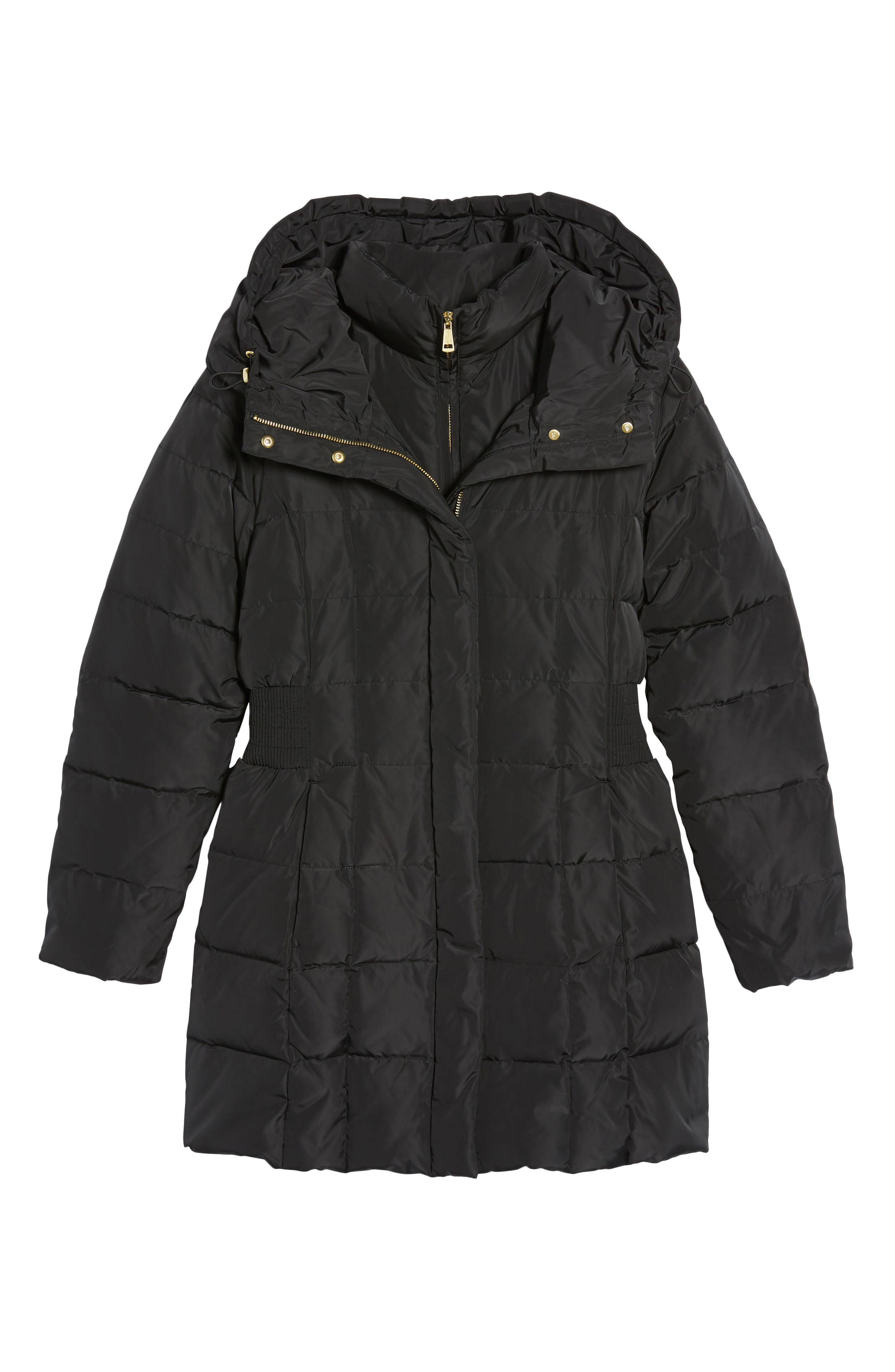 Cole Haan Hooded Down & Feather Jacket,                             Alternate thumbnail 6, color,                             BLACK