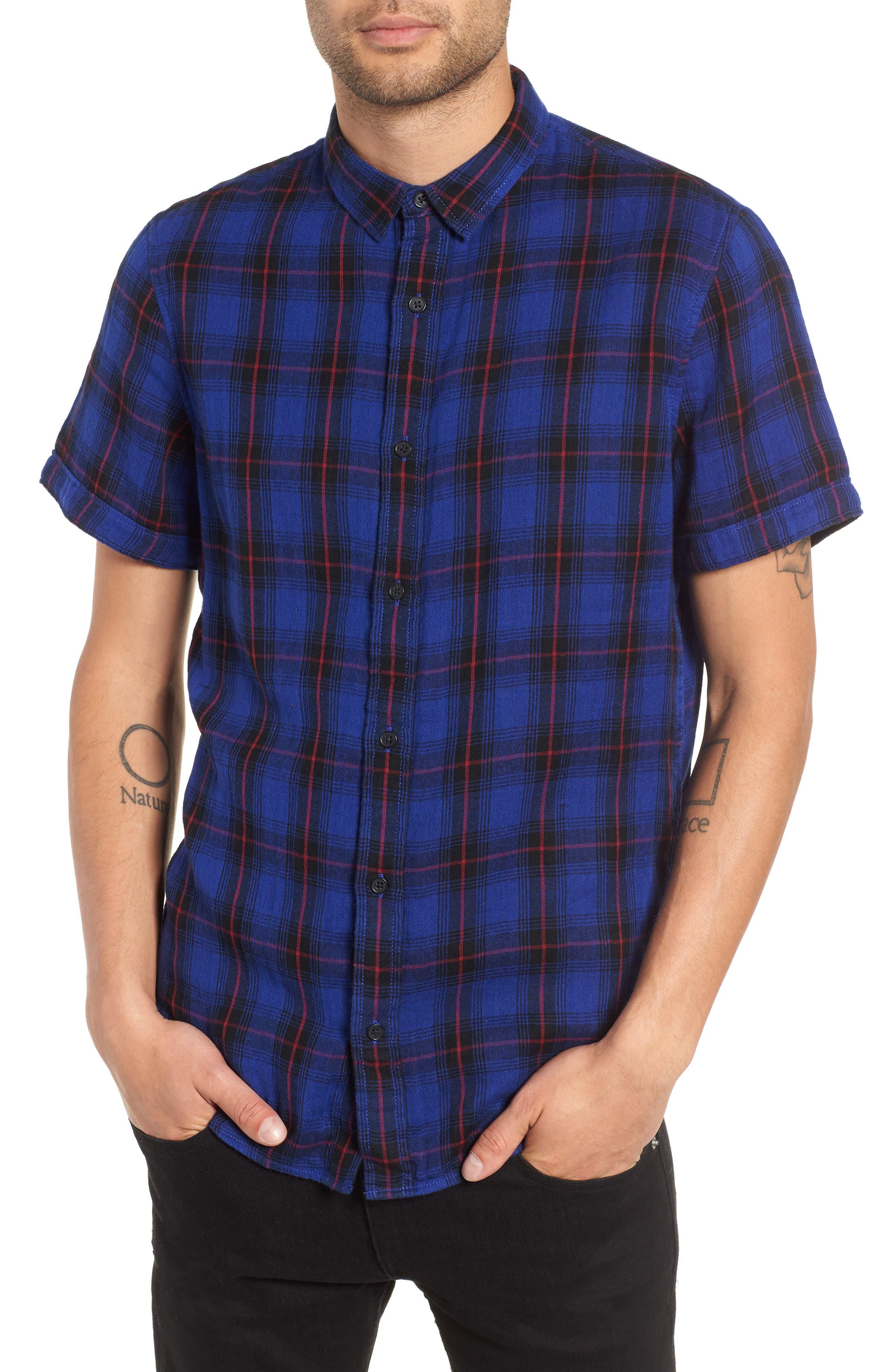 Plaid Woven Shirt,                         Main,                         color, BLUE BLACK LUCA PLAID