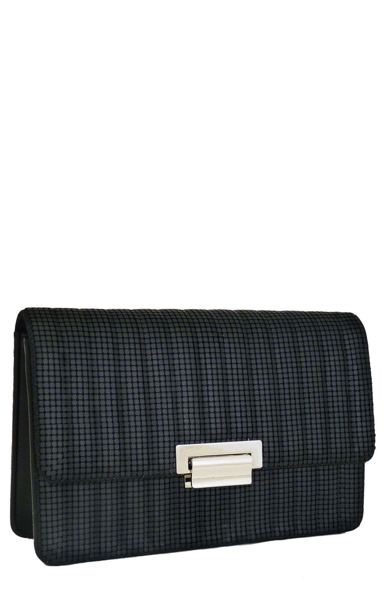 Sydney Quilted Clutch,                         Main,                         color, MATTE BLACK