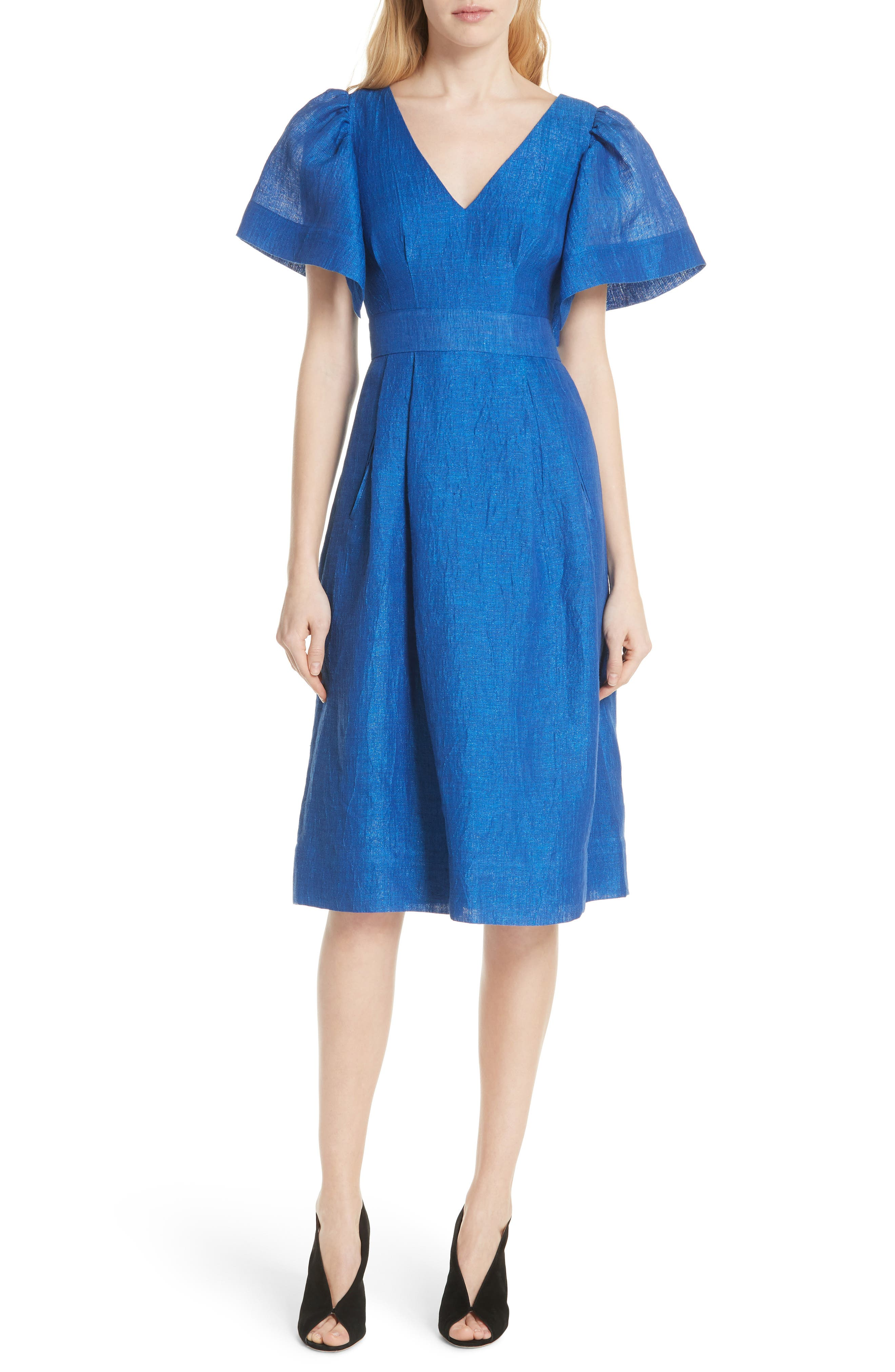 Open Sleeve Backless Linen Blend Dress,                         Main,                         color, 409
