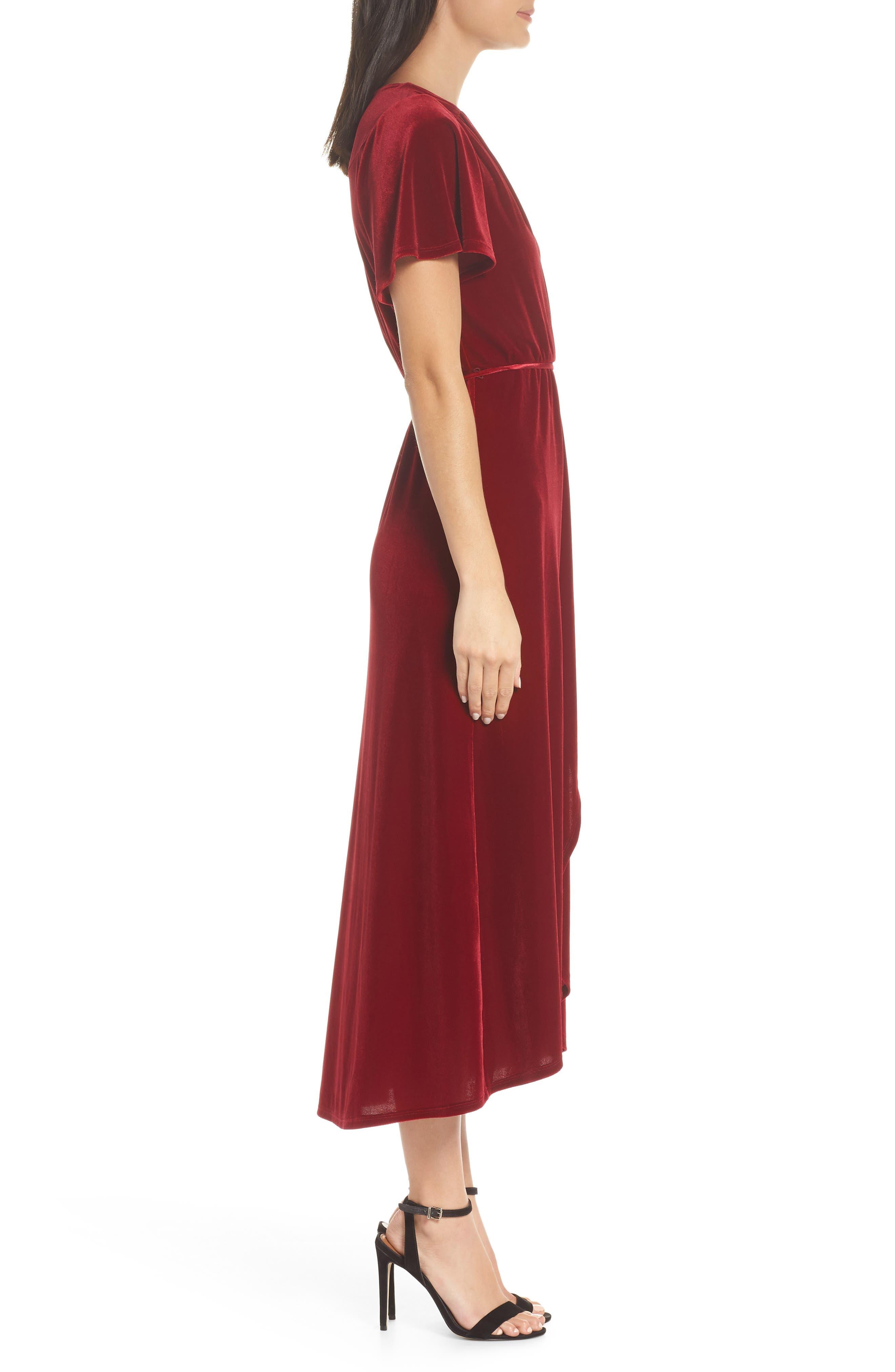 Velvet Midi Dress,                             Alternate thumbnail 3, color,                             RED TIBETAN