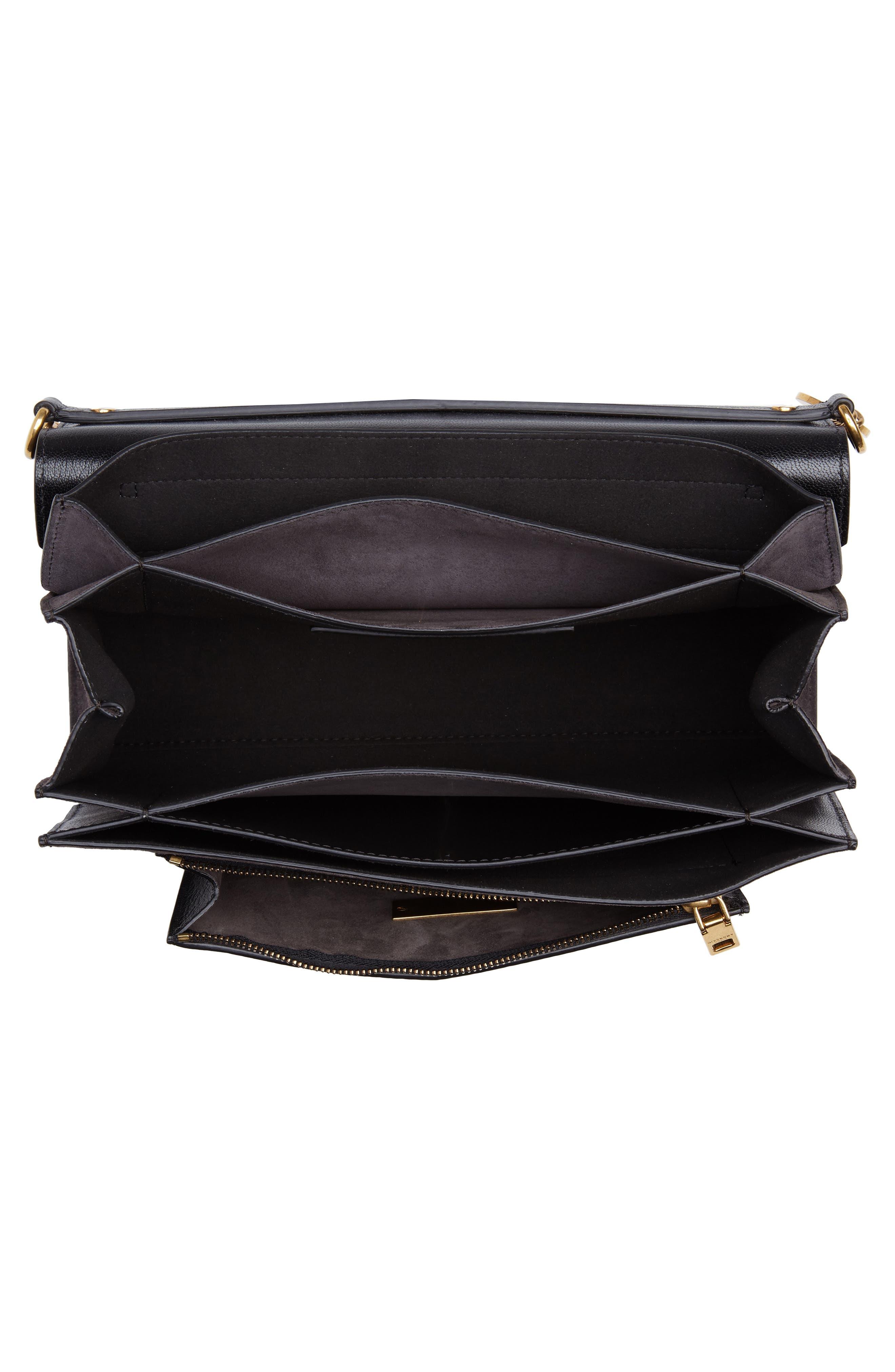 Medium GV3 Leather Crossbody Bag,                             Alternate thumbnail 4, color,                             BLACK/ GREY