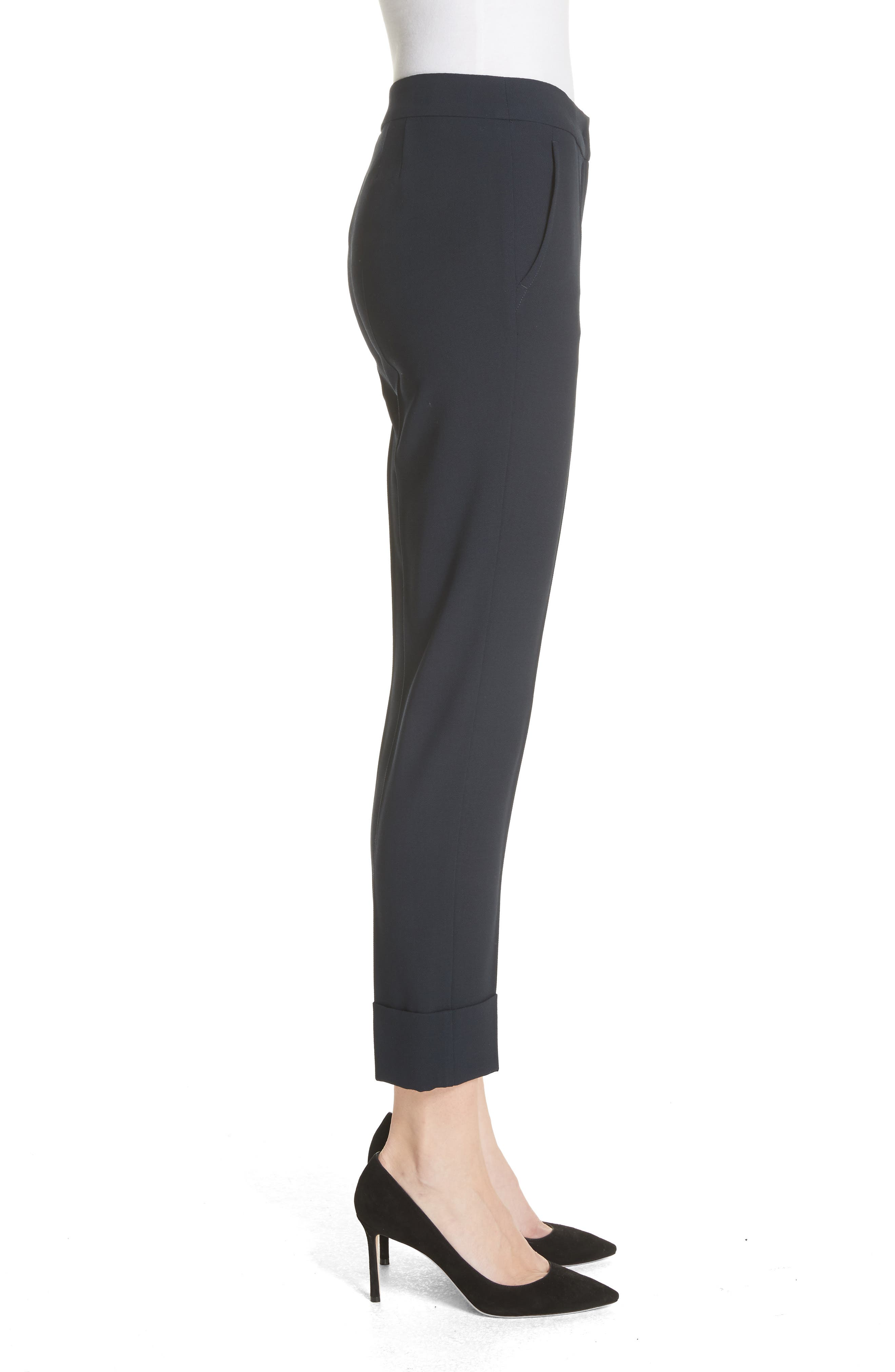 Stretch Wool Crepe Cuffed Pants,                             Alternate thumbnail 3, color,                             403