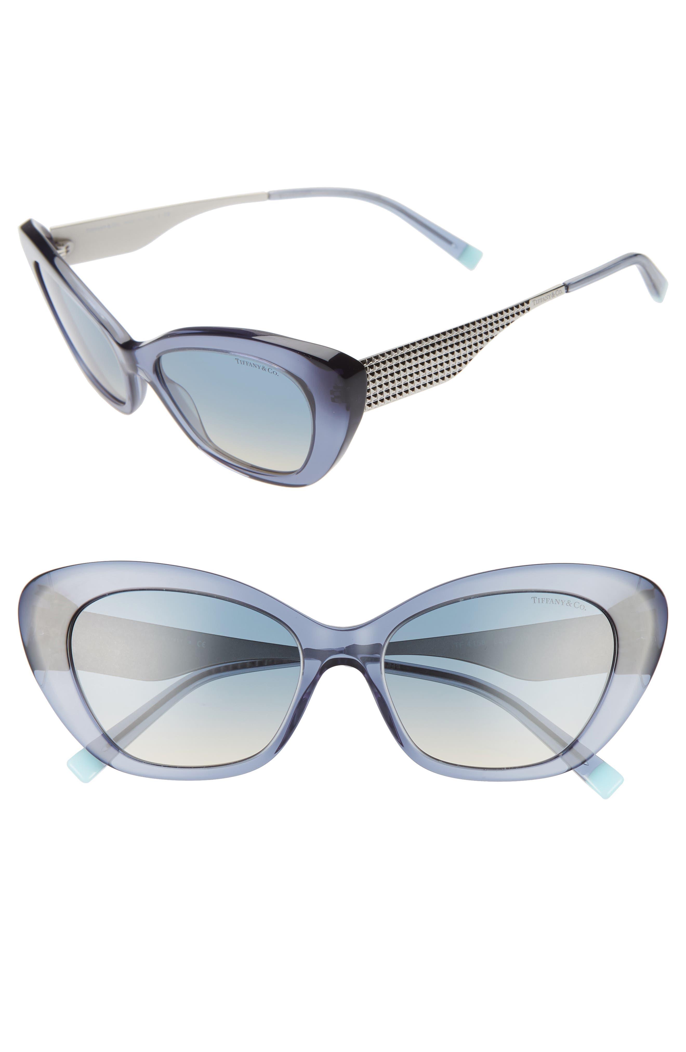 2ea95f94d1d Women s Tiffany   Co. Diamond Point 54Mm Gradient Cat Eye Sunglasses -  Blue  Silver