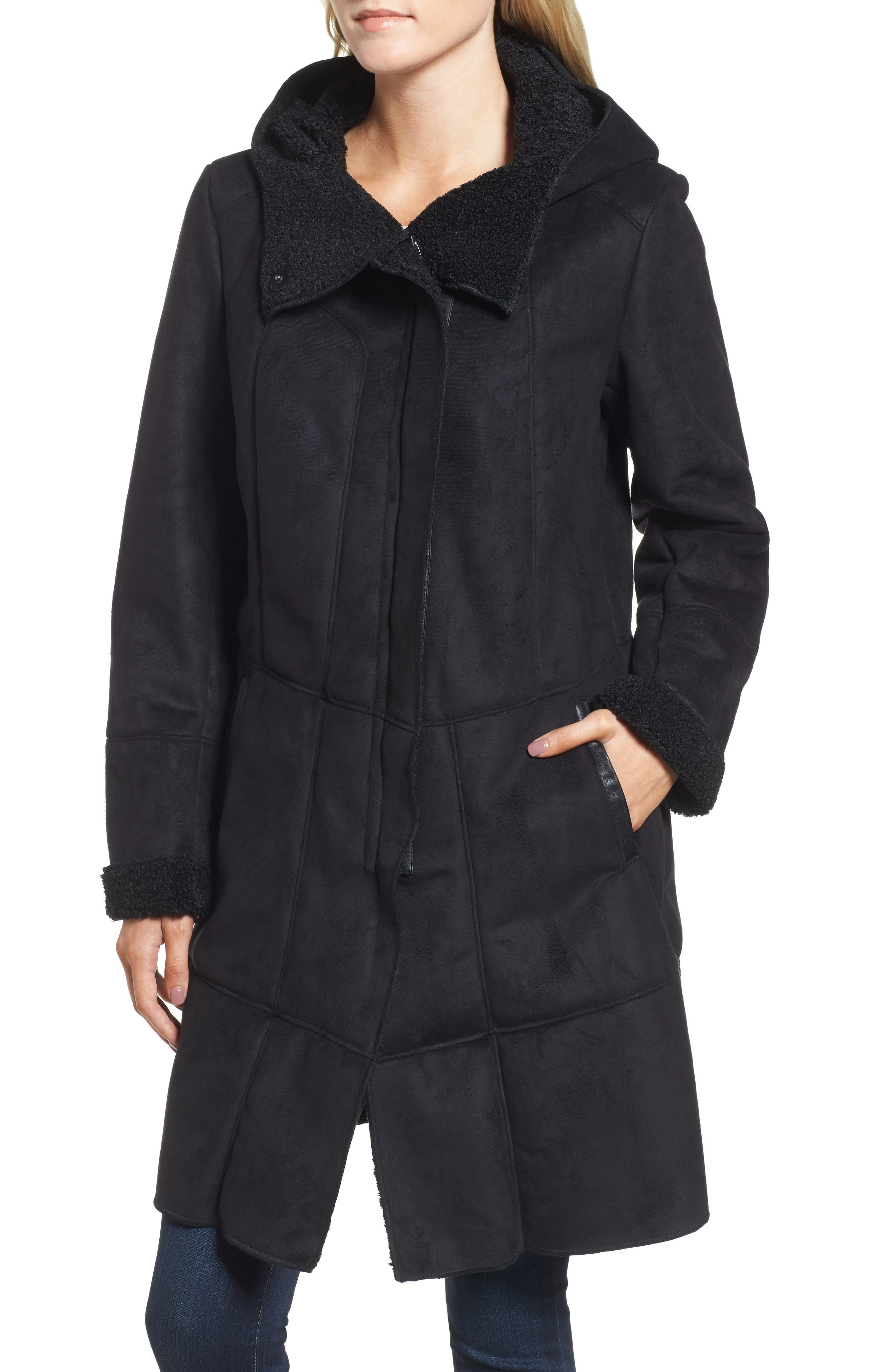 Faux Shearling Hooded Coat,                             Alternate thumbnail 4, color,                             001