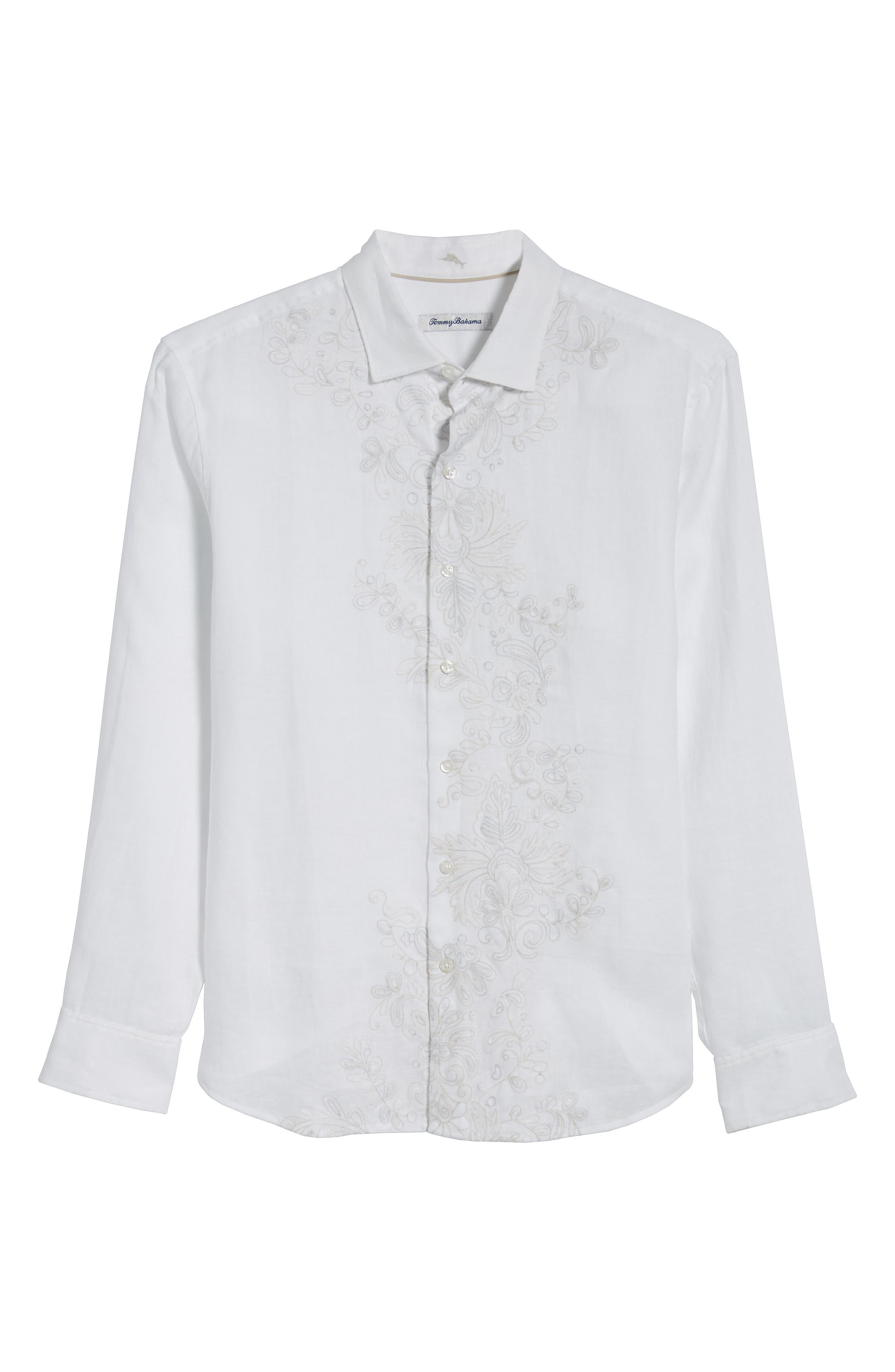 Get Your Groom On Linen Sport Shirt,                             Alternate thumbnail 6, color,                             WHITE