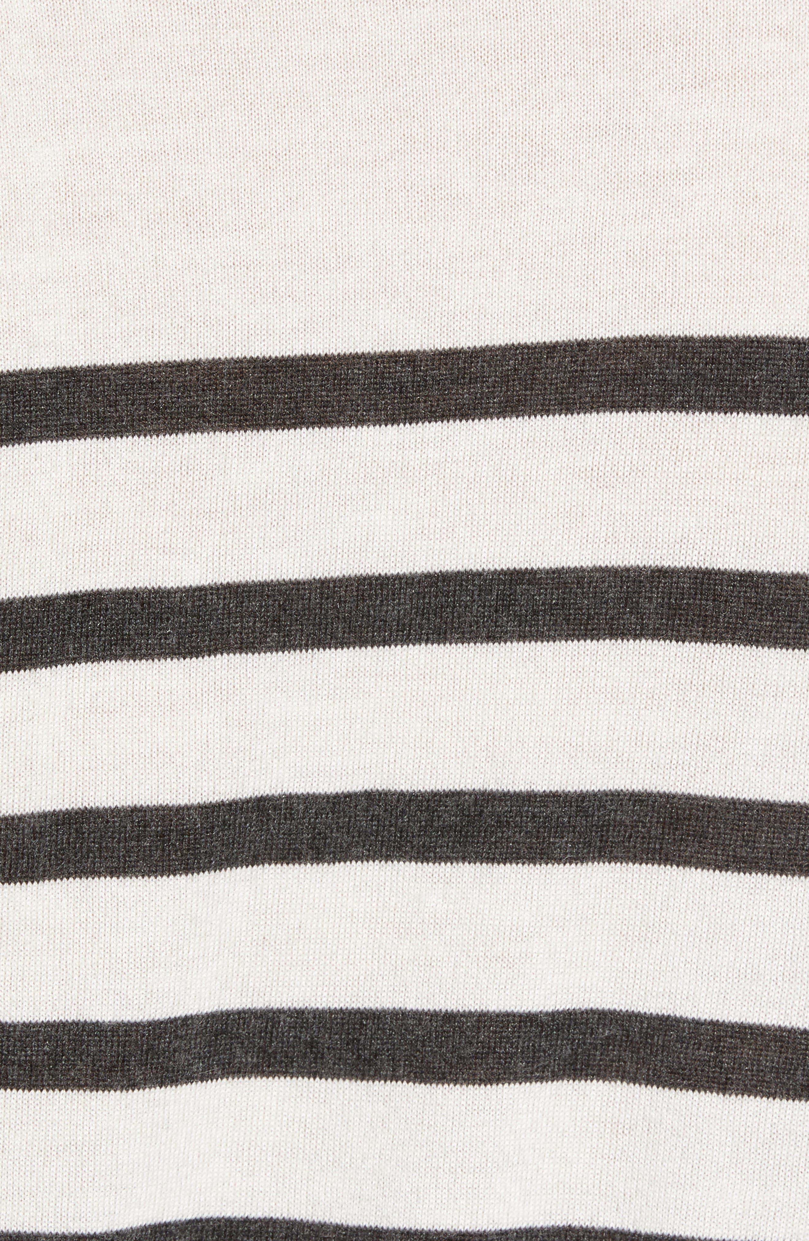 ATM ANTHONY THOMAS MELILLO,                             Sailor Stripe Silk Blend Sweater,                             Alternate thumbnail 5, color,                             CHALK/ CHARCOAL COMBO