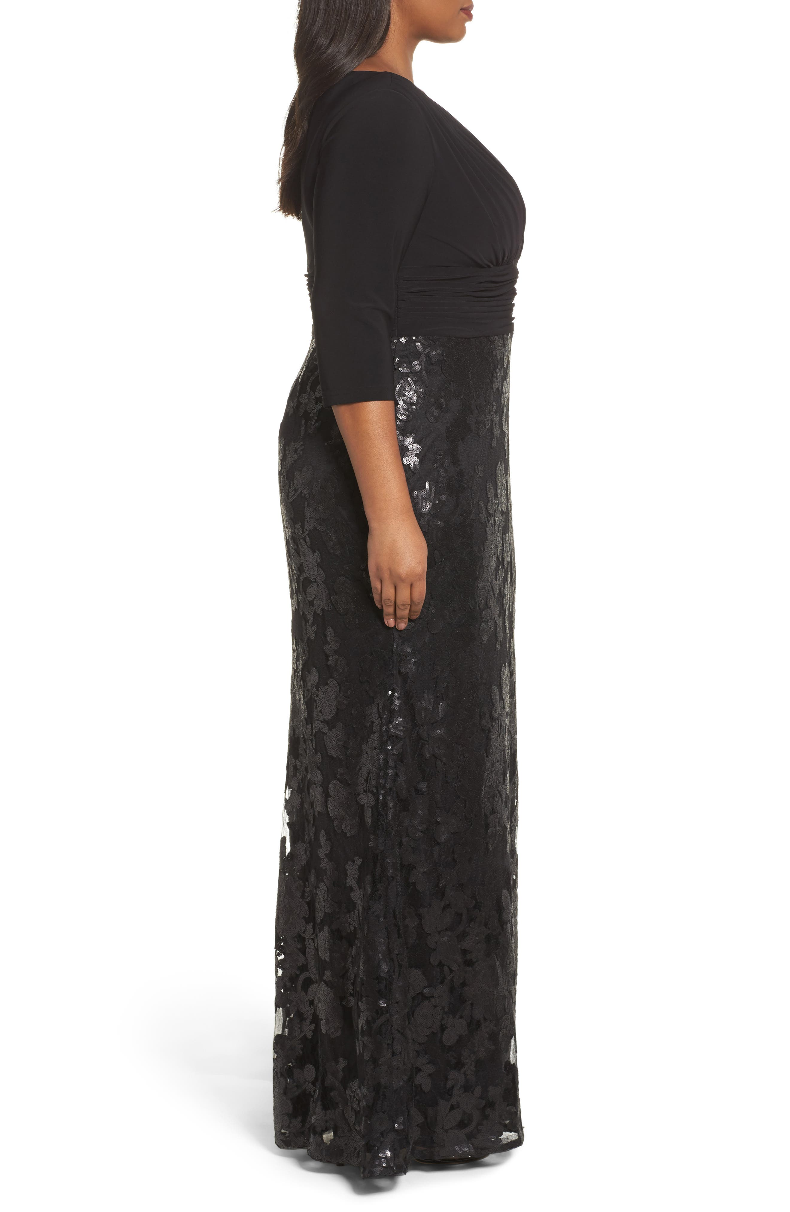 ADRIANNA PAPELL,                             Jersey & Sequin Lace Gown,                             Alternate thumbnail 3, color,                             002