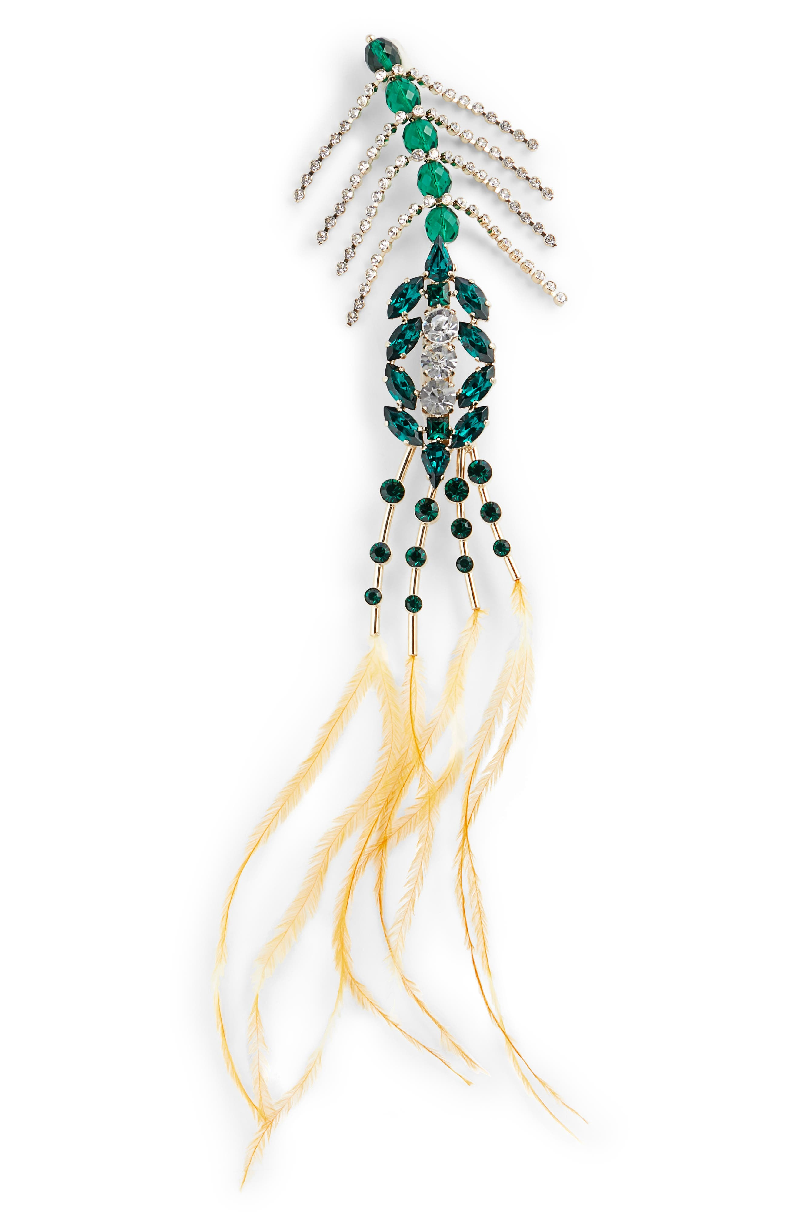 Crystal & Feather Brooch,                             Main thumbnail 1, color,                             GREEN