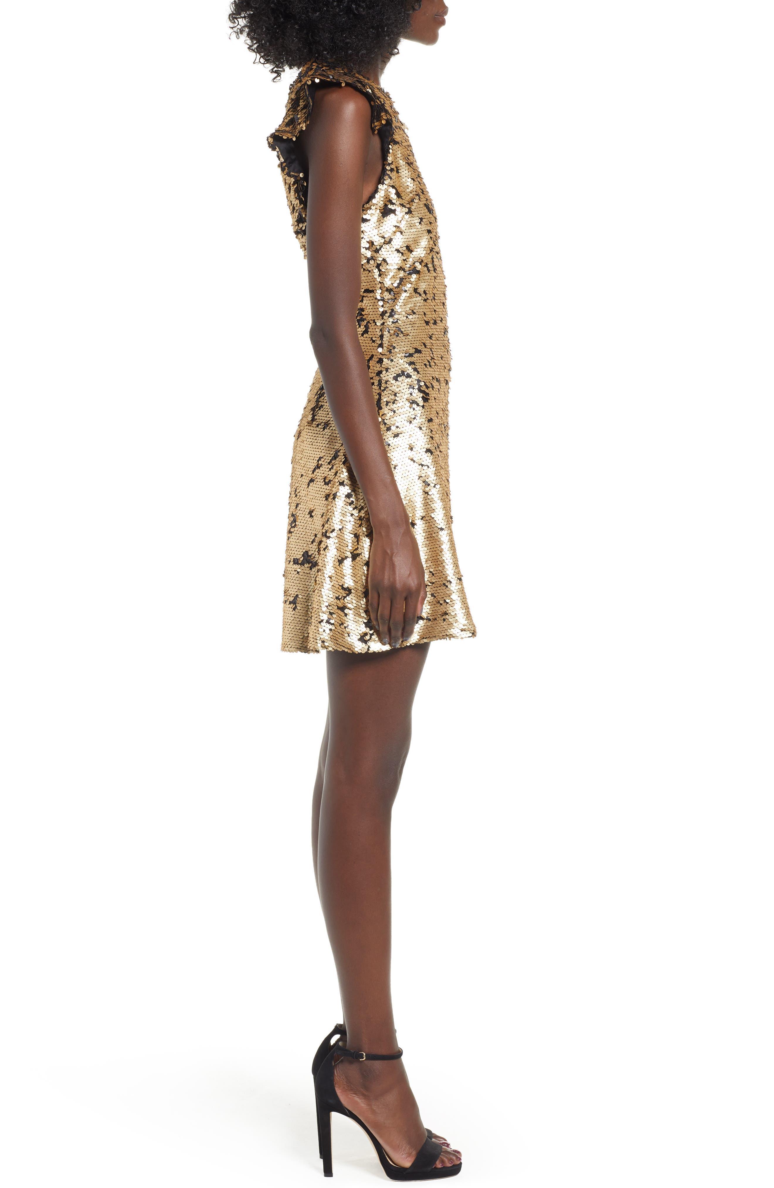 Sequin Babydoll Dress,                             Alternate thumbnail 3, color,                             710