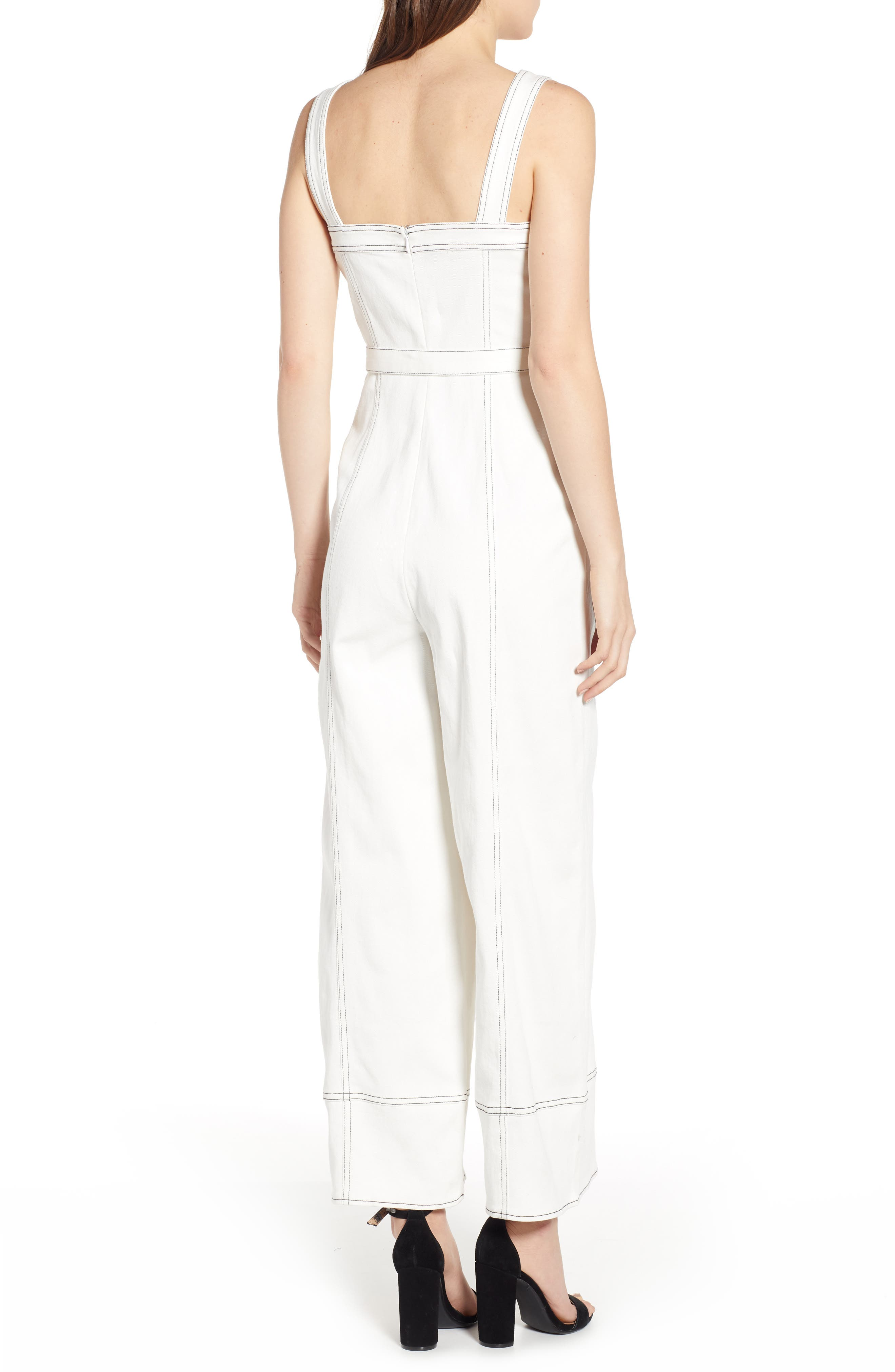 Moya Topstitch Detail Jumpsuit,                             Alternate thumbnail 2, color,                             WHITE