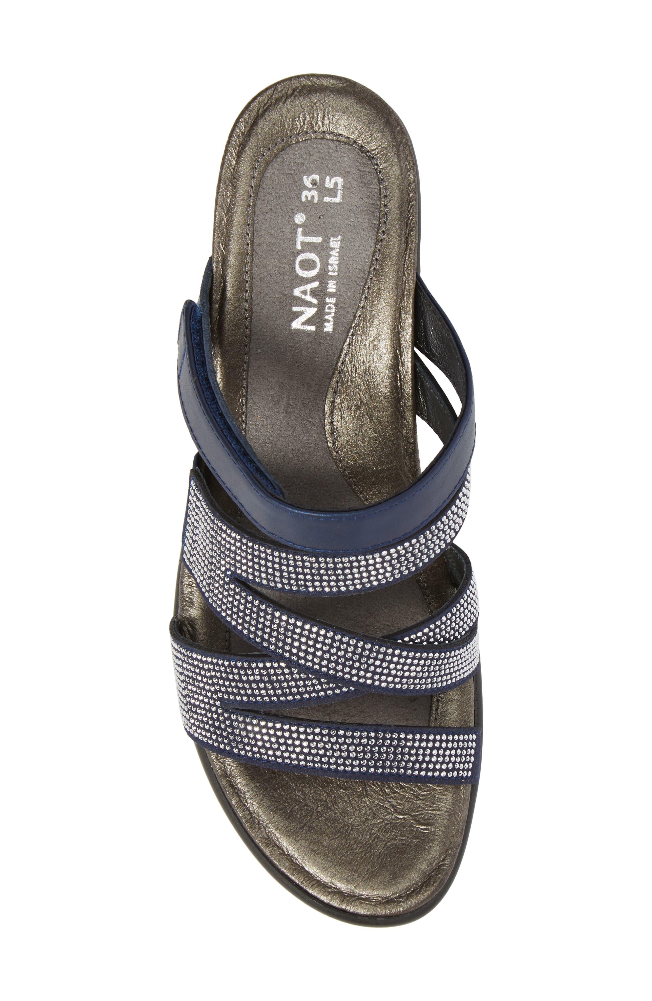 Formal Sandal,                             Alternate thumbnail 5, color,                             DARK BLUE LEATHER