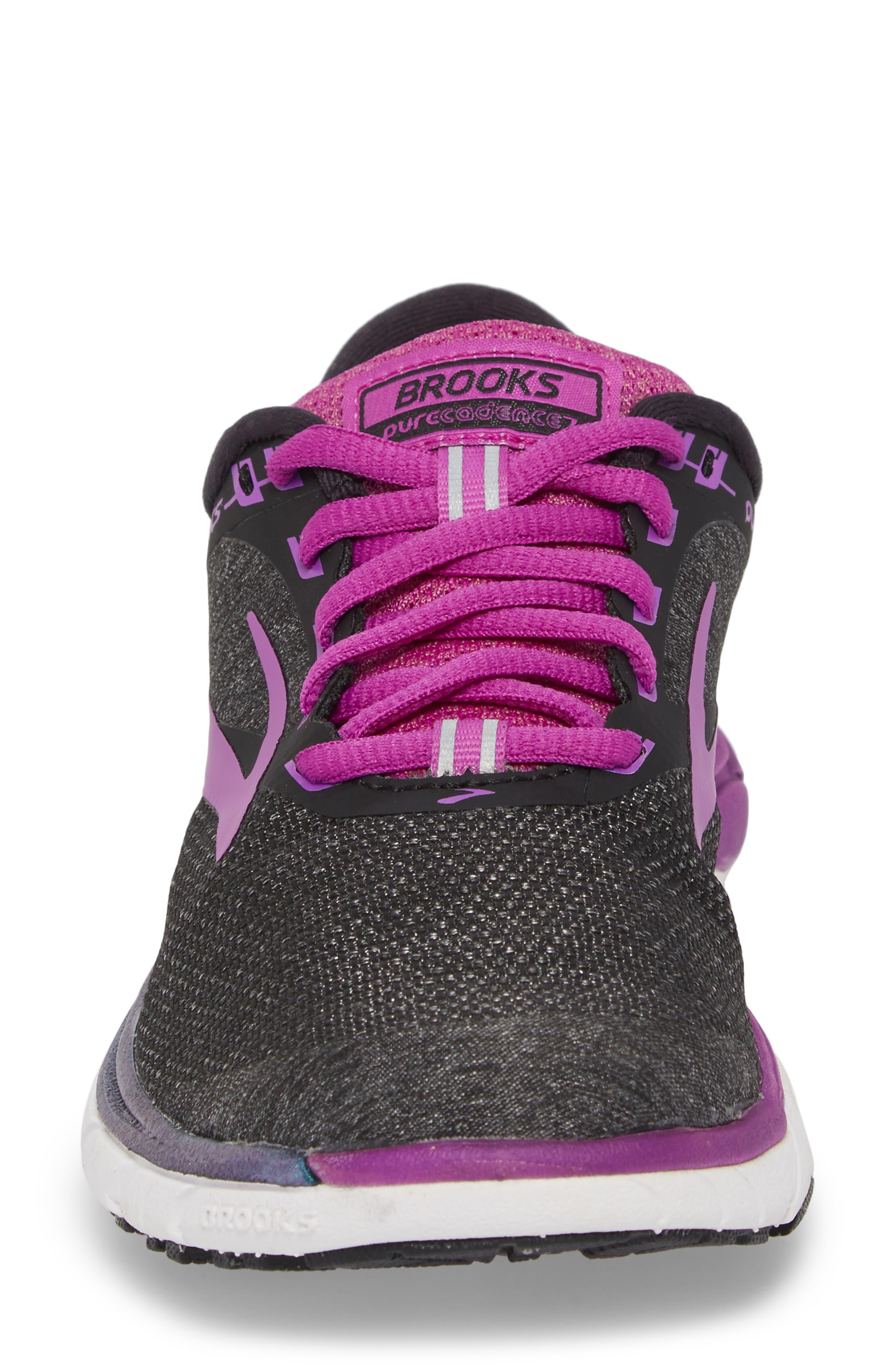 PureCadence 7 Road Running Shoe,                             Alternate thumbnail 4, color,                             BLACK/ PURPLE/ MULTI