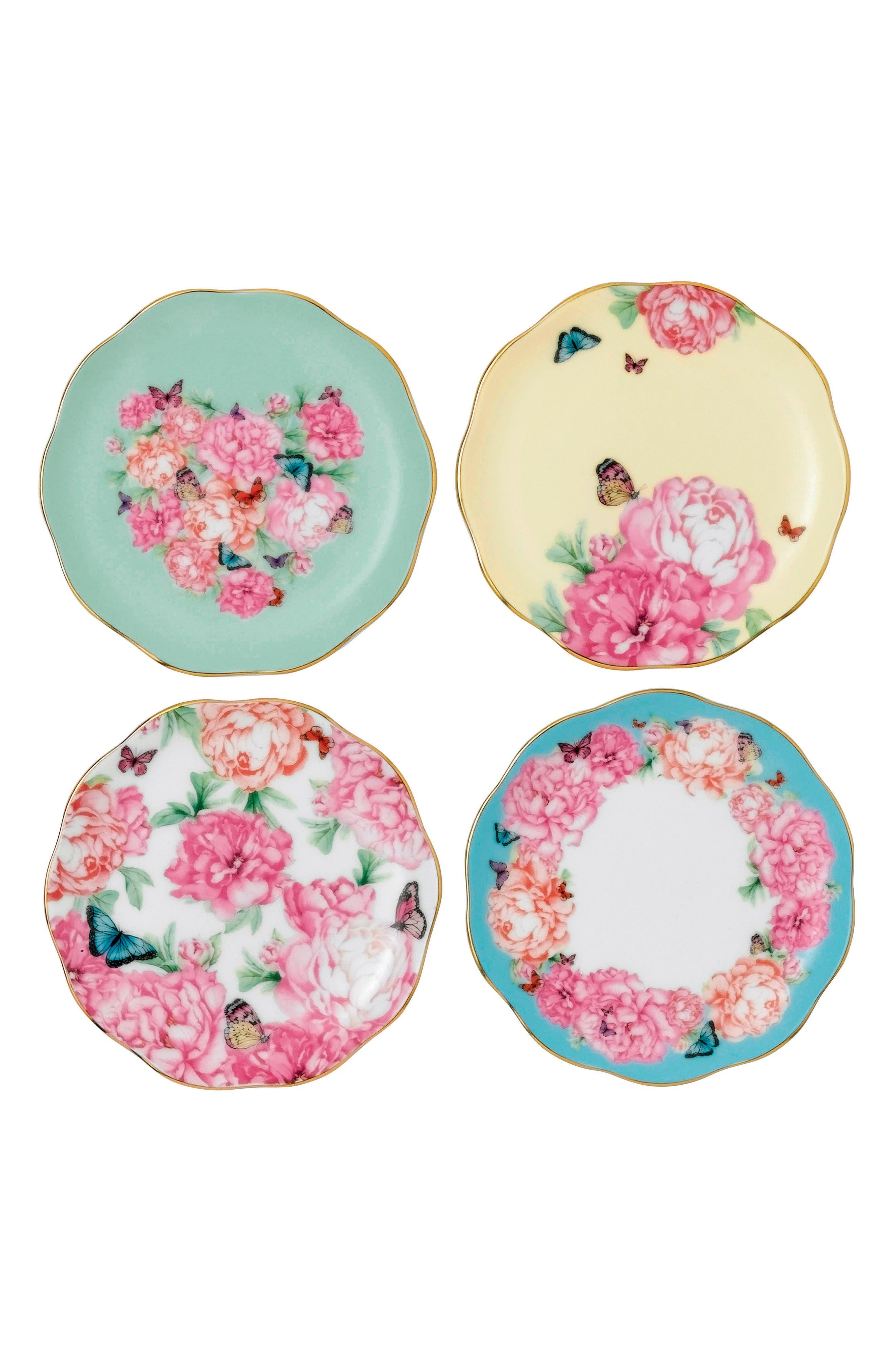 Set of 4 Assorted Tidbit Plates,                         Main,                         color, 650