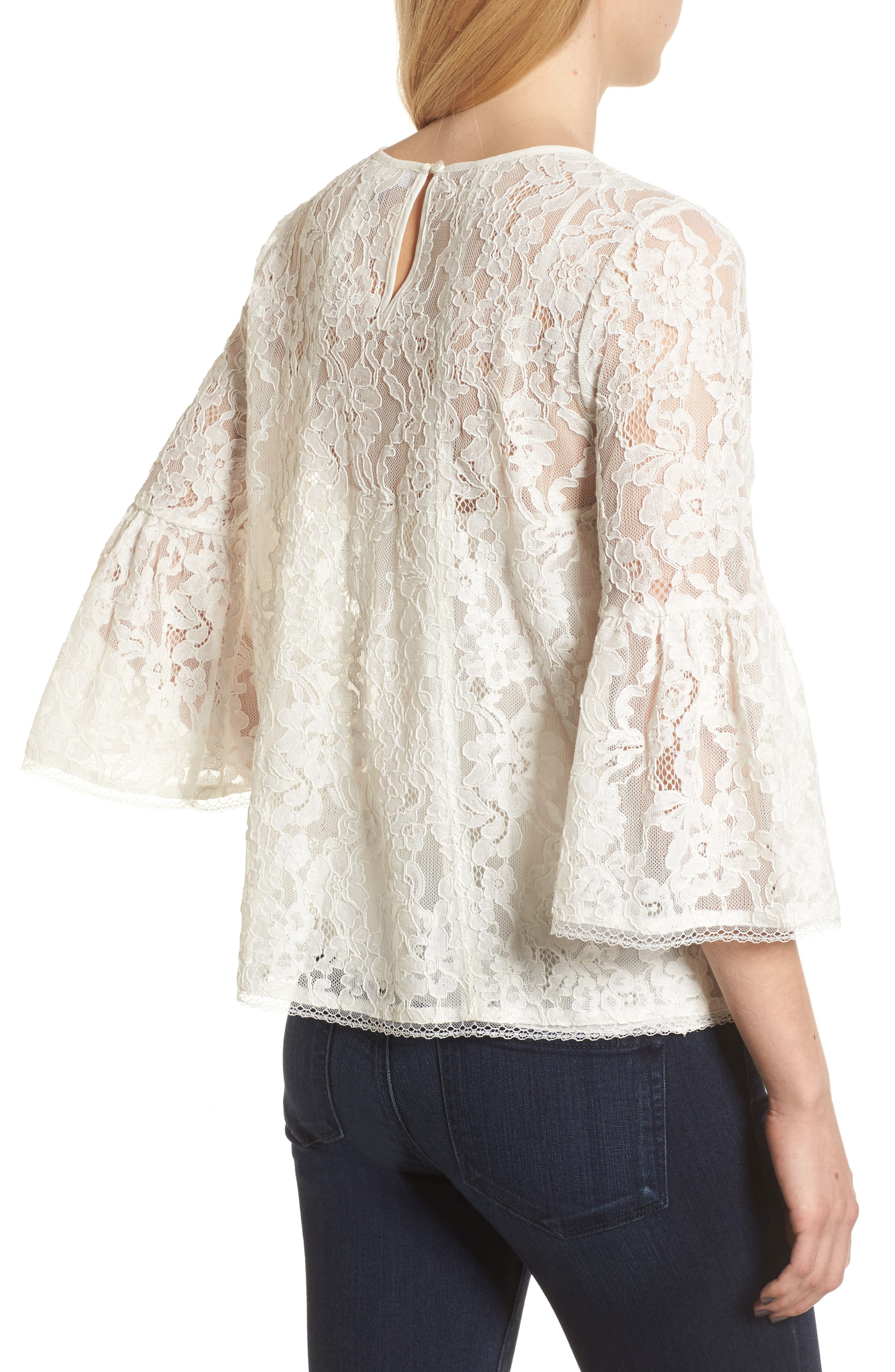 Bell Sleeve Lace Top,                             Alternate thumbnail 6, color,