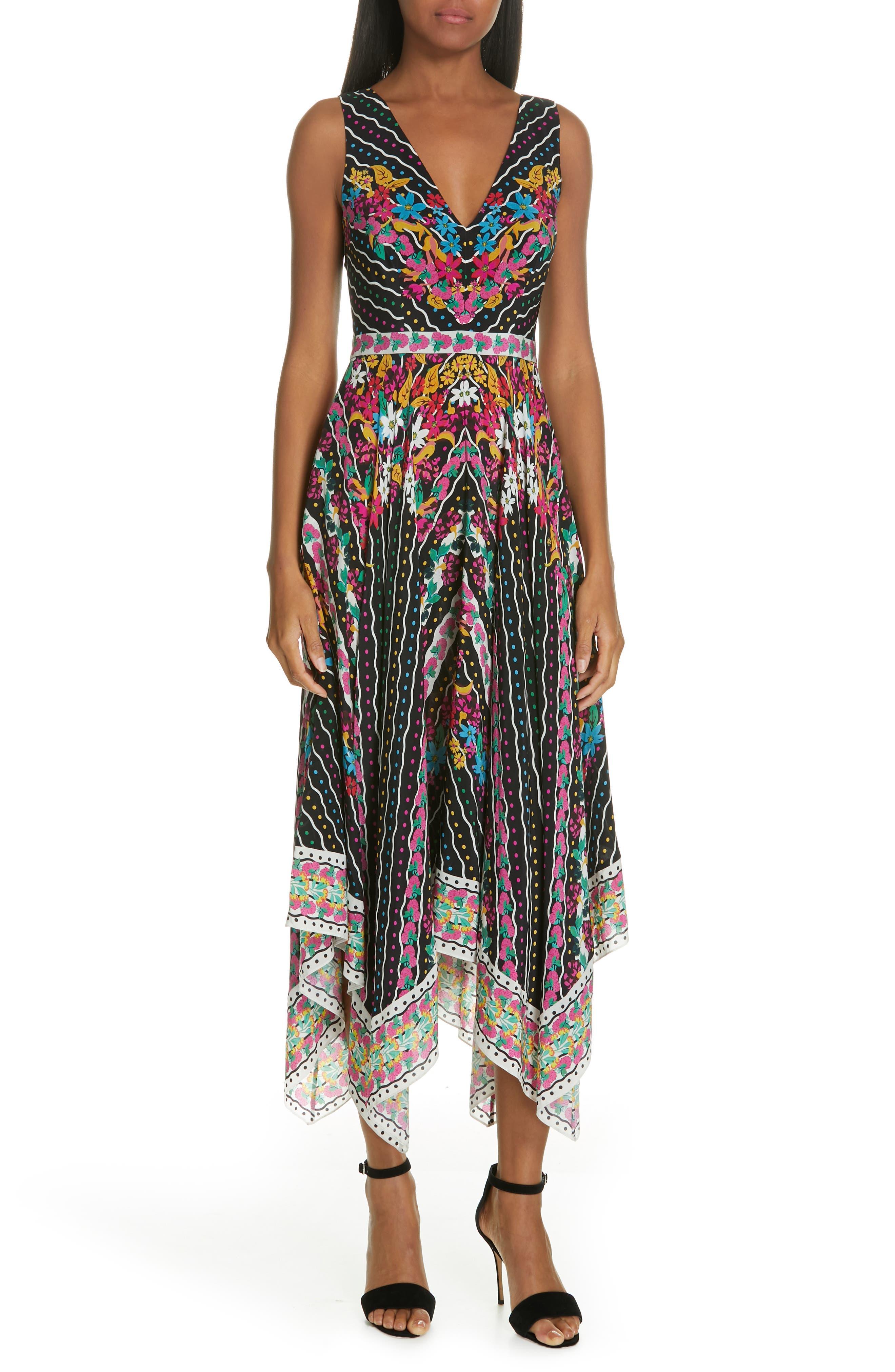 SALONI Zuri Printed Sleeveless V-Neck Dress in Japonica Garlands