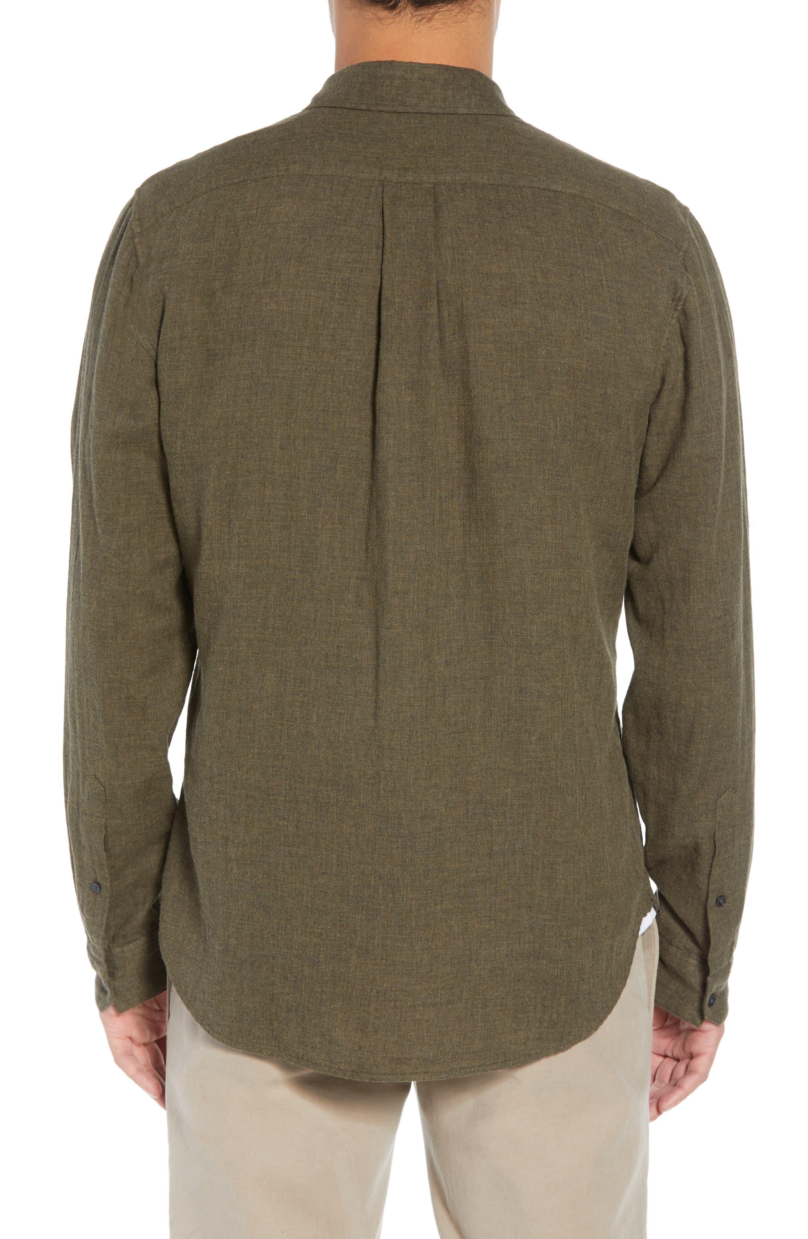 Classic Fit Double Knit Sport Shirt,                             Alternate thumbnail 3, color,                             H OLIVE