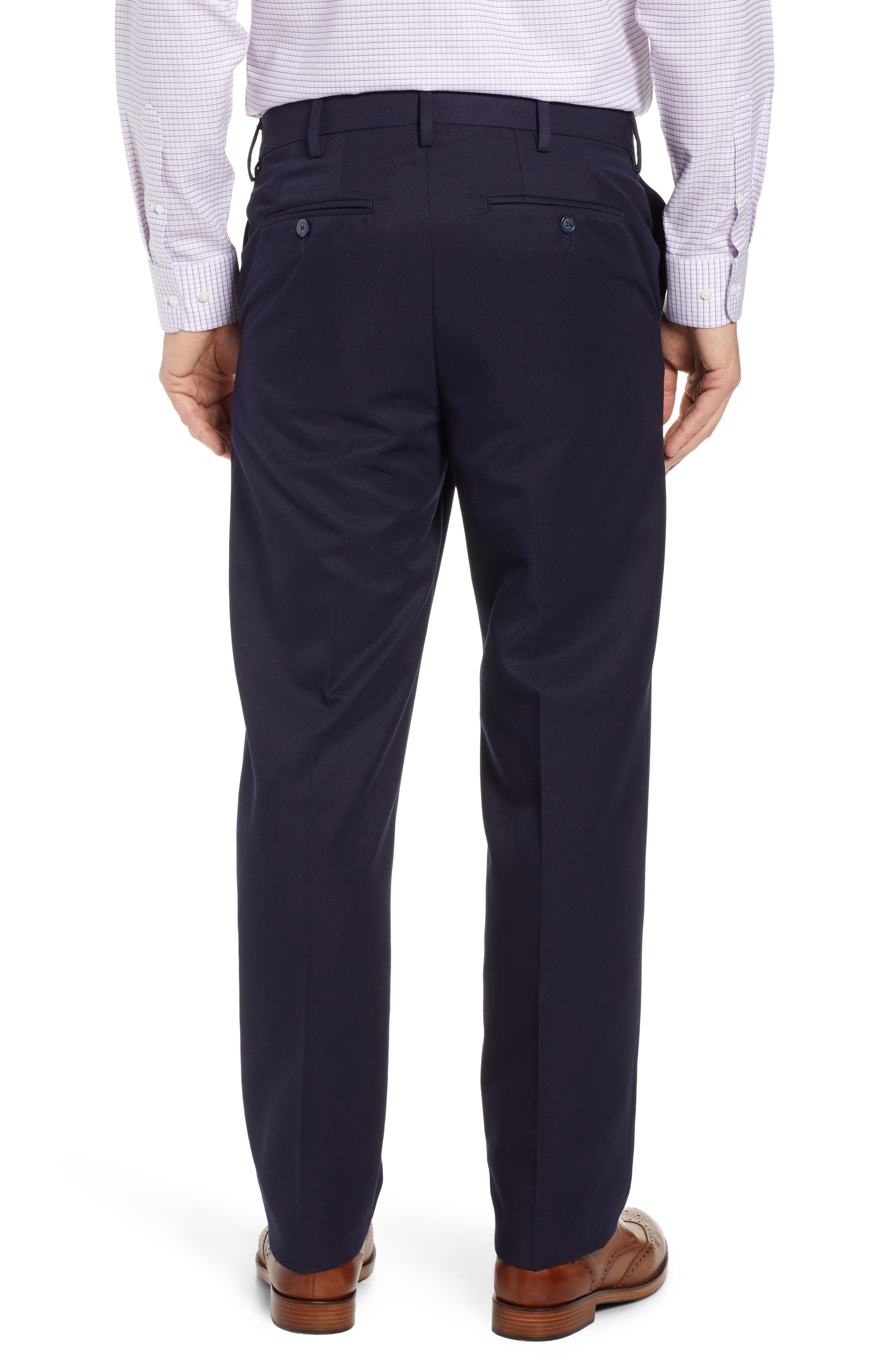 Classic Fit Flat Front Microfiber Performance Trousers,                             Alternate thumbnail 2, color,                             NAVY