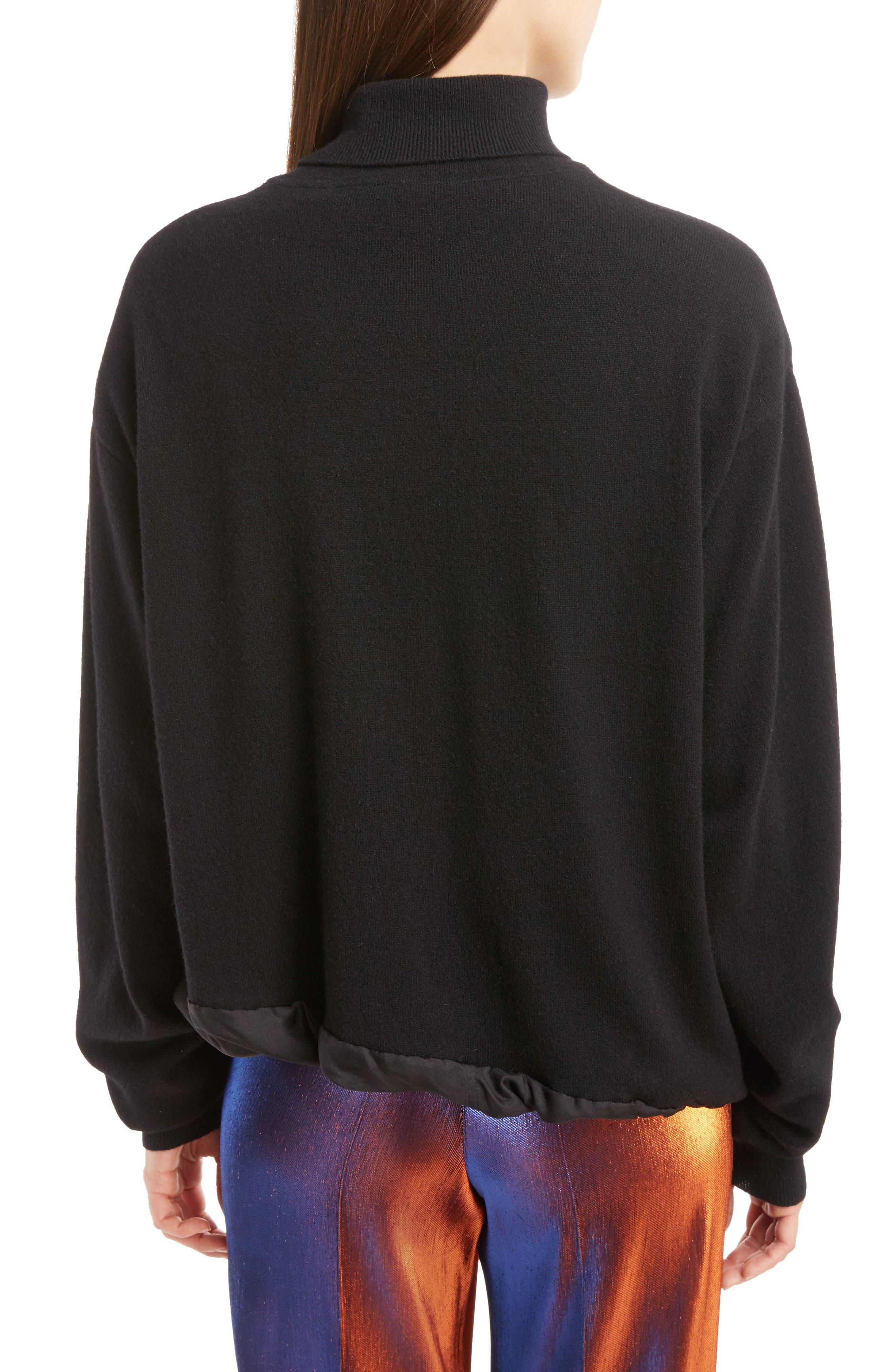 Silk Hem Cashmere Turtleneck Sweater,                             Alternate thumbnail 2, color,                             001
