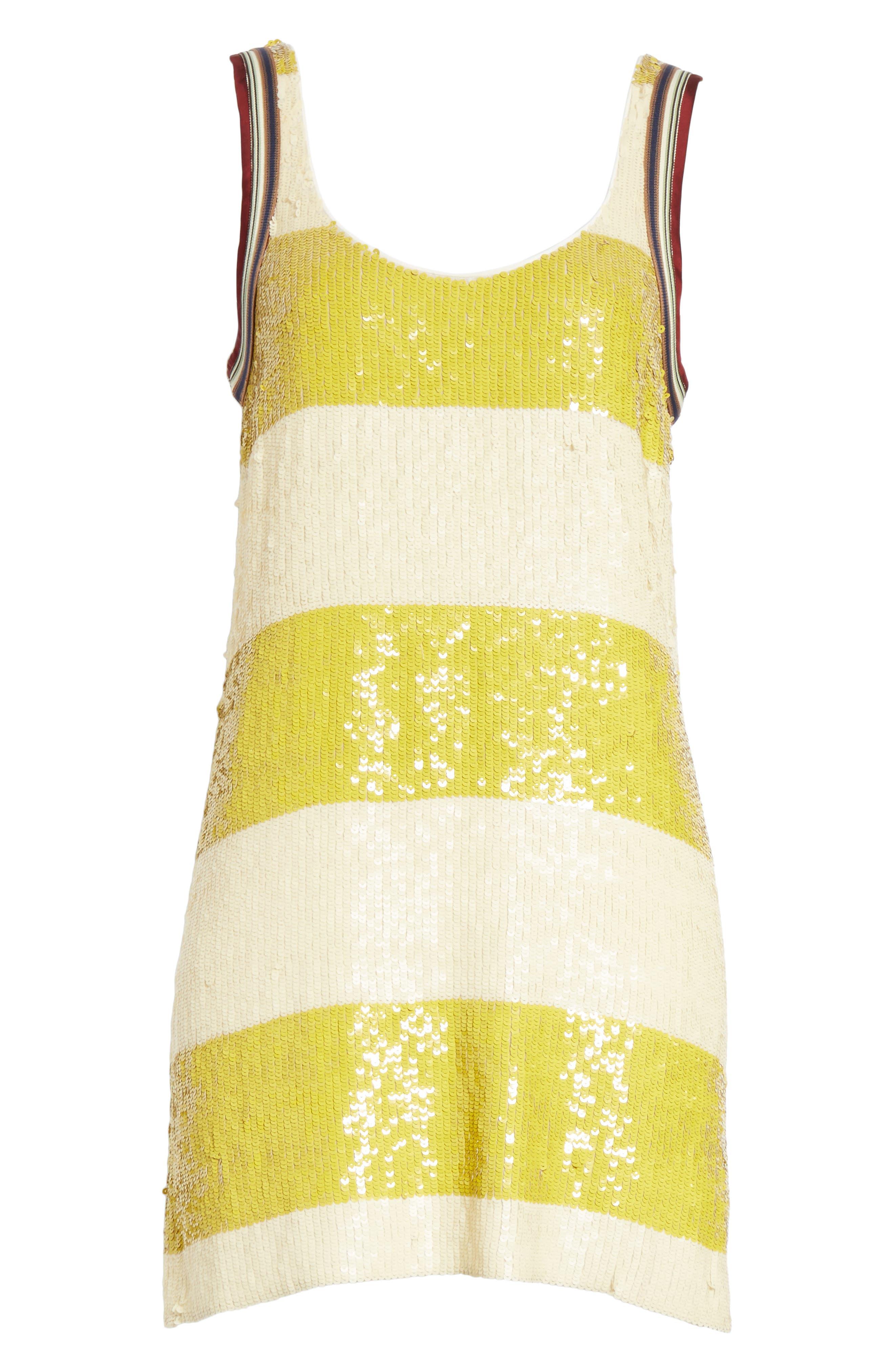 Stripe Sequin Silk Shift Dress,                             Alternate thumbnail 6, color,                             709