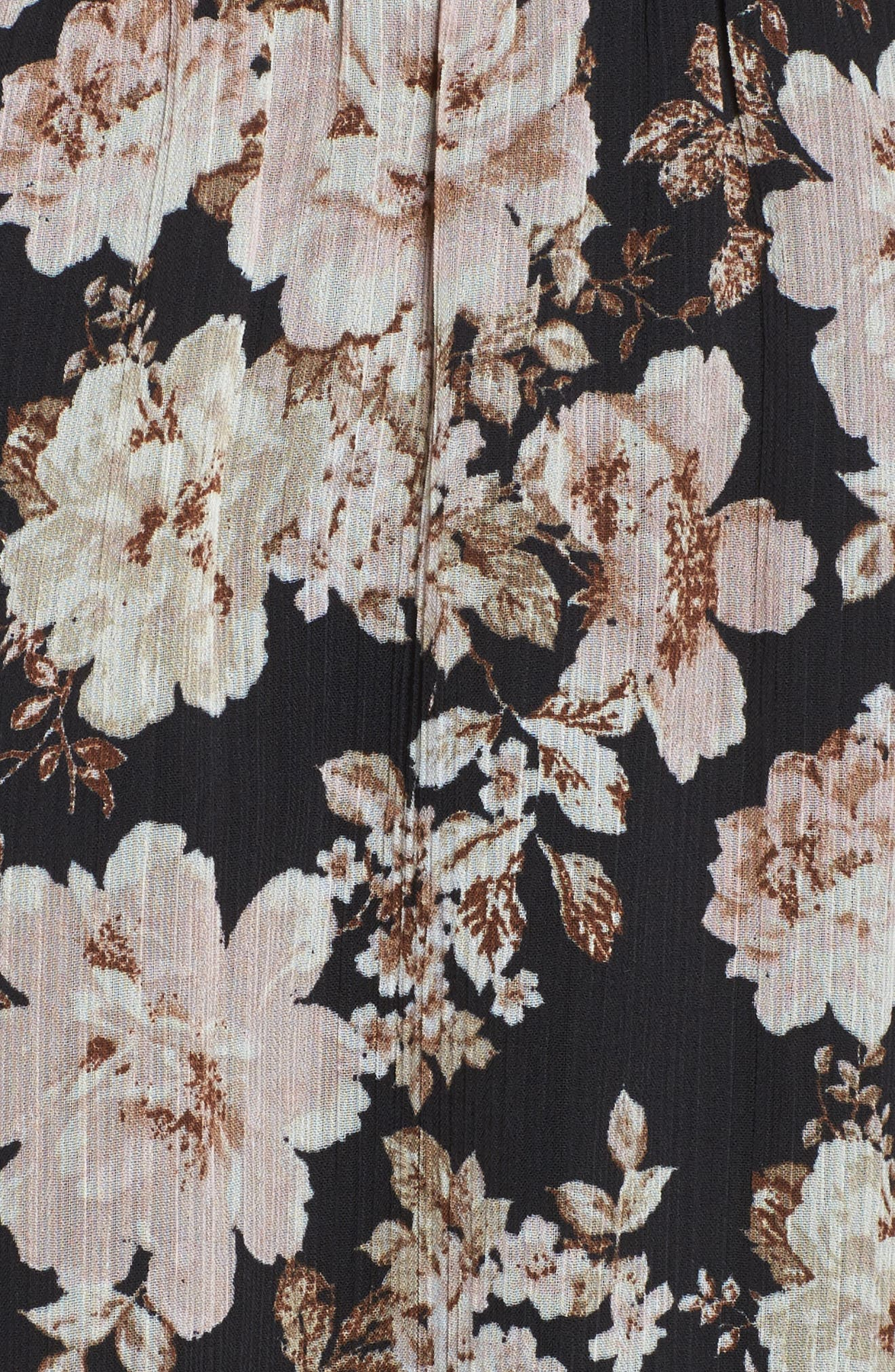Floral Print Cross Back Dress,                             Alternate thumbnail 5, color,                             001