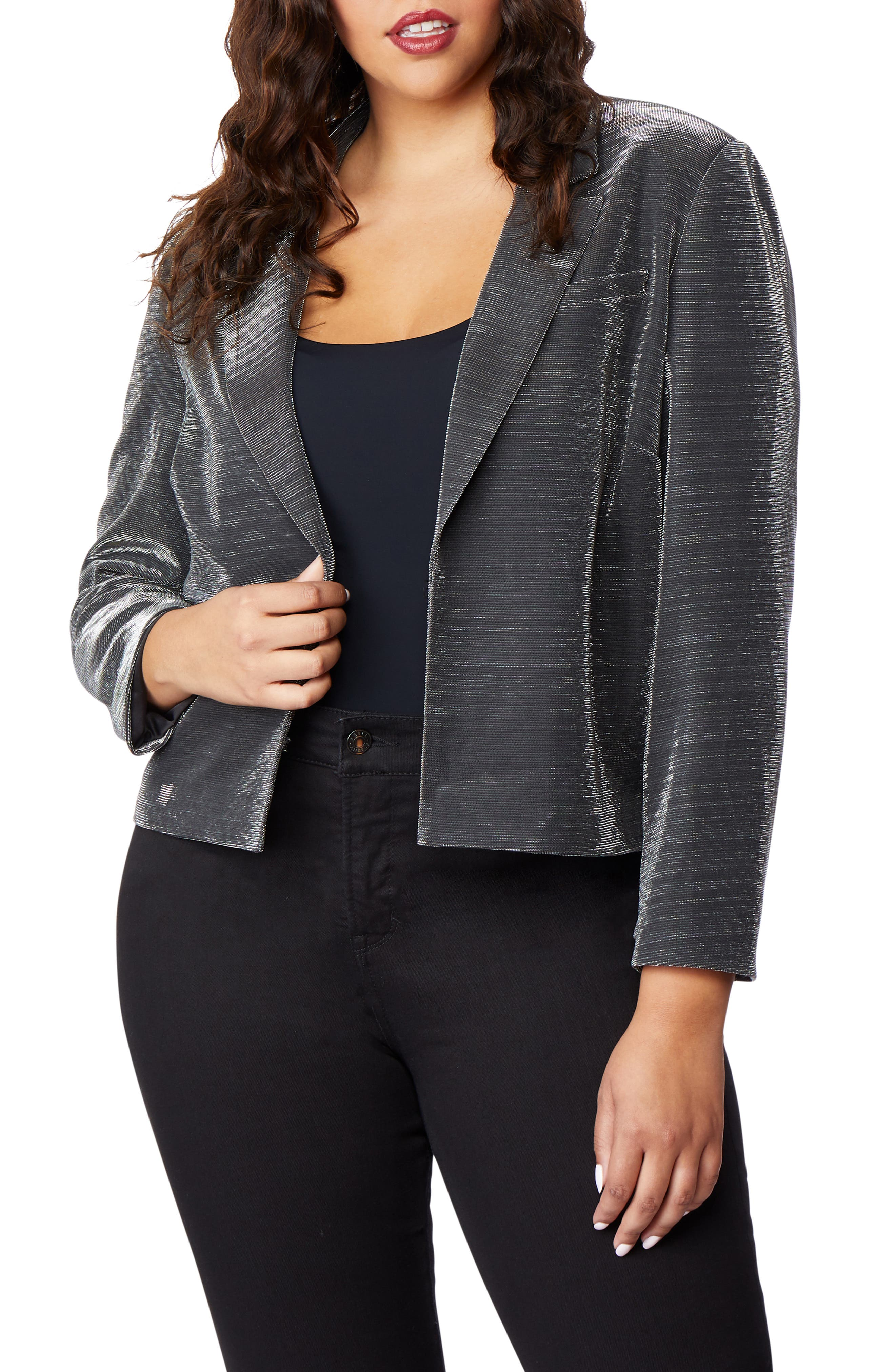 Crop Tux Jacket,                             Alternate thumbnail 4, color,                             GUNMETAL