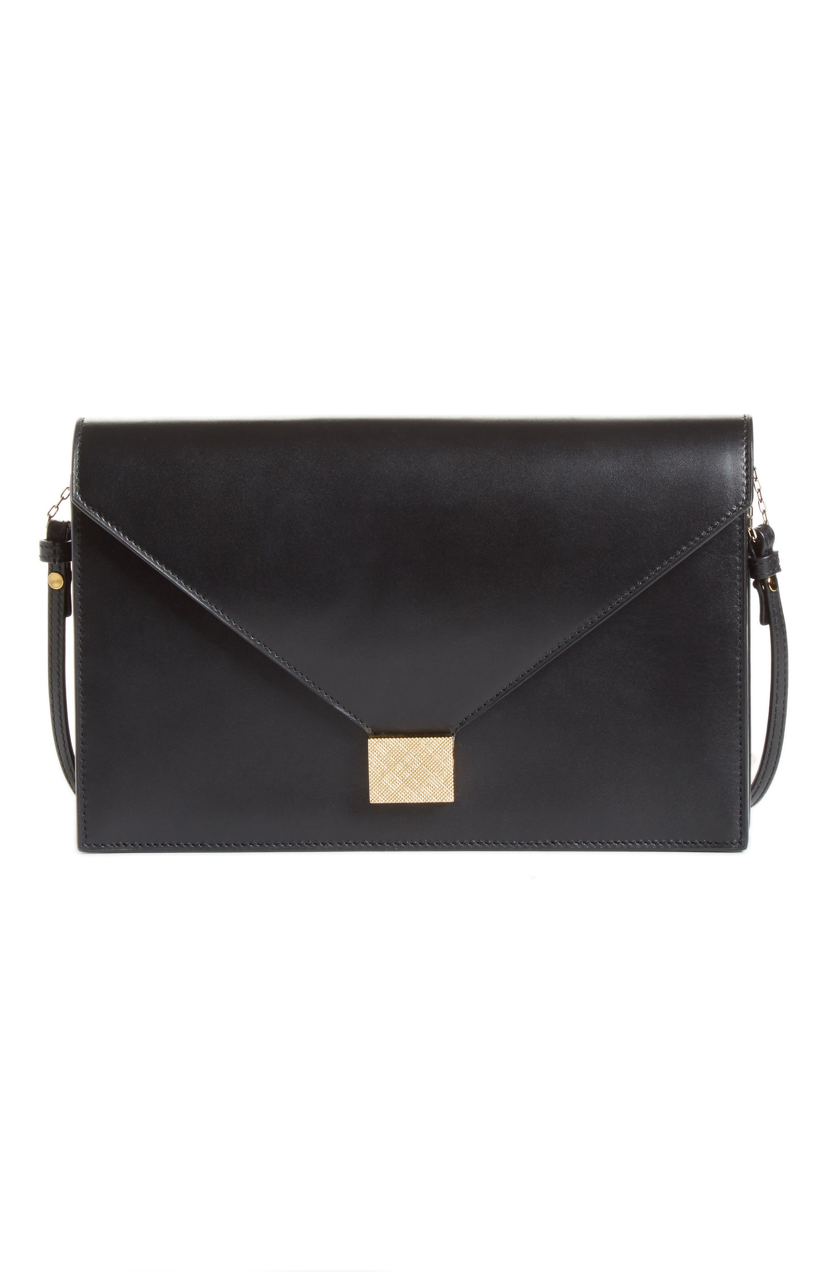 Leather Envelope Clutch,                             Main thumbnail 1, color,                             BLACK