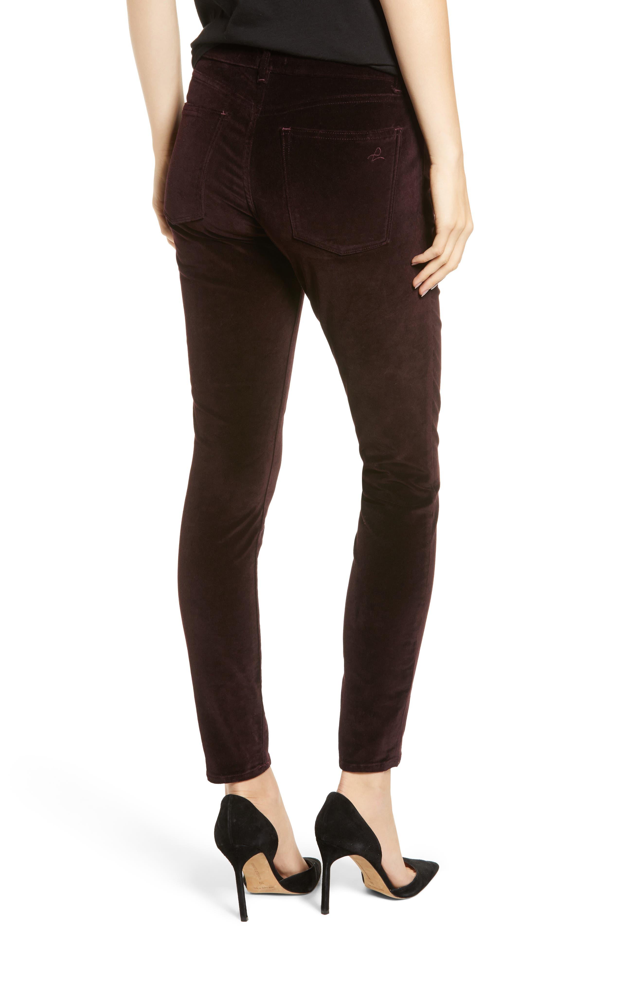 Margaux Instasculpt Ankle Skinny Velvet Pants,                             Alternate thumbnail 2, color,                             DARK PURPLE