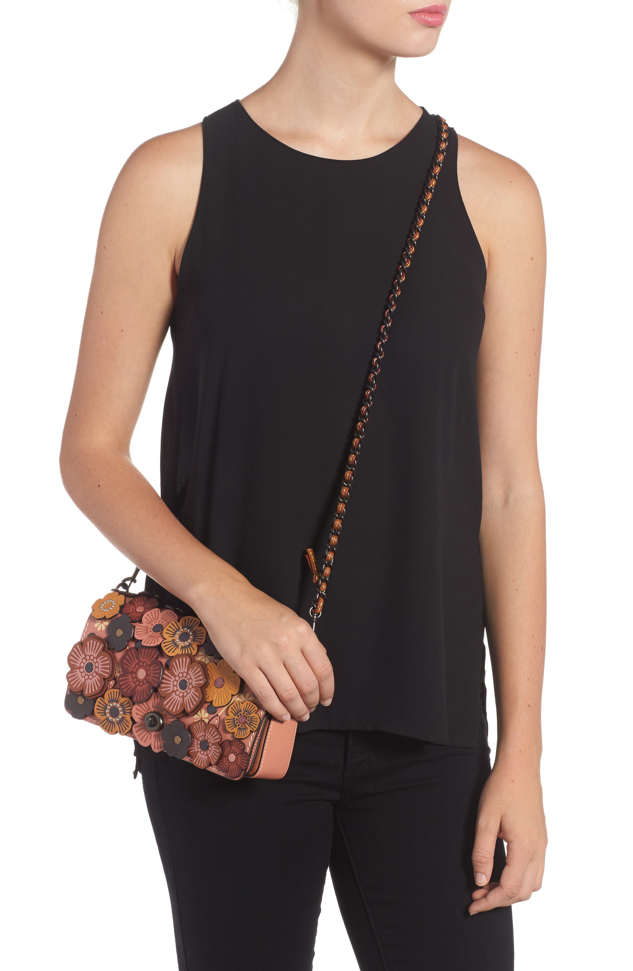 'Dinky' Flower Appliqué Leather Crossbody Bag,                             Alternate thumbnail 16, color,
